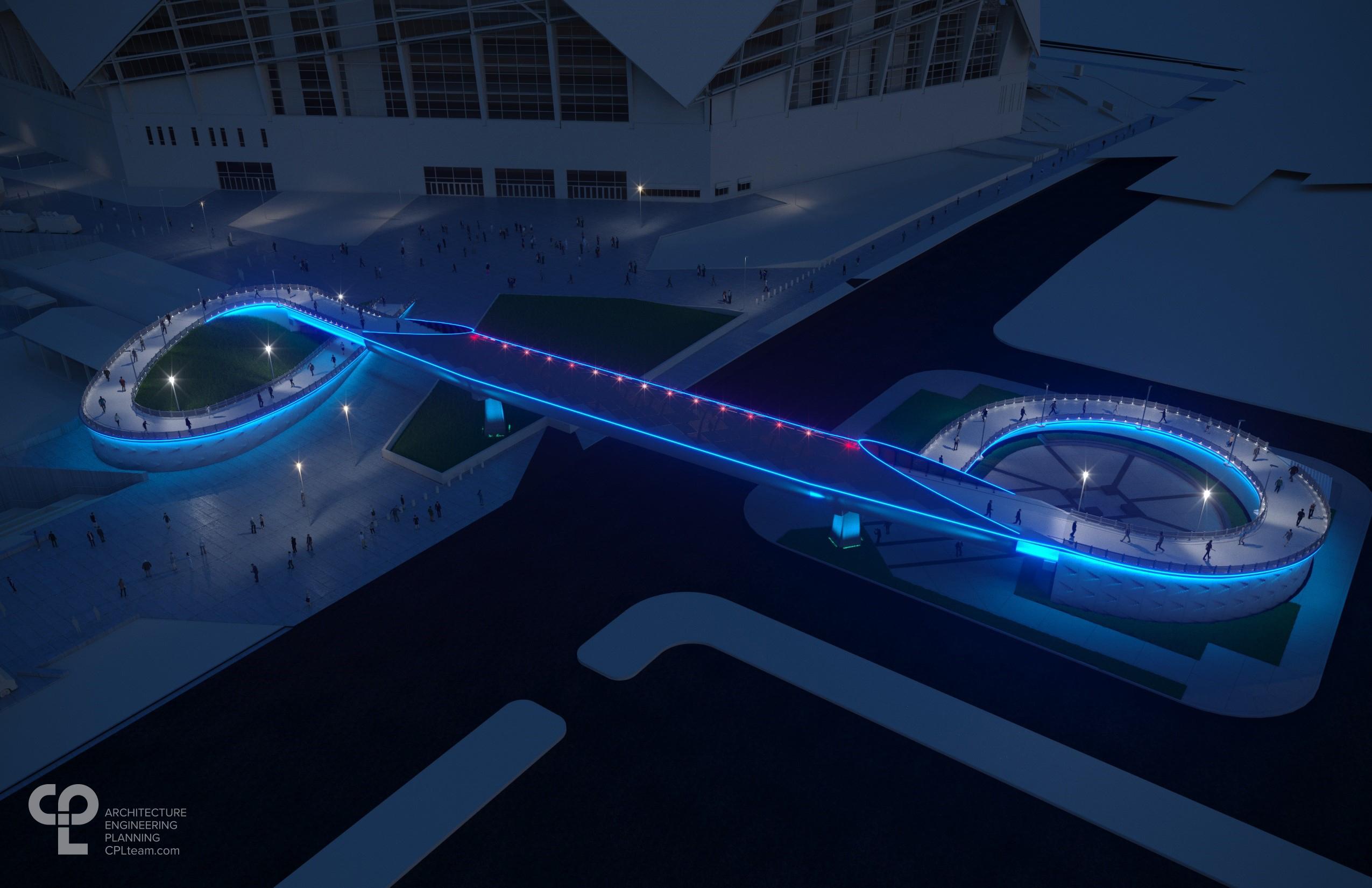 A rendering of the new Mercedes Benz Stadium bridge at night.