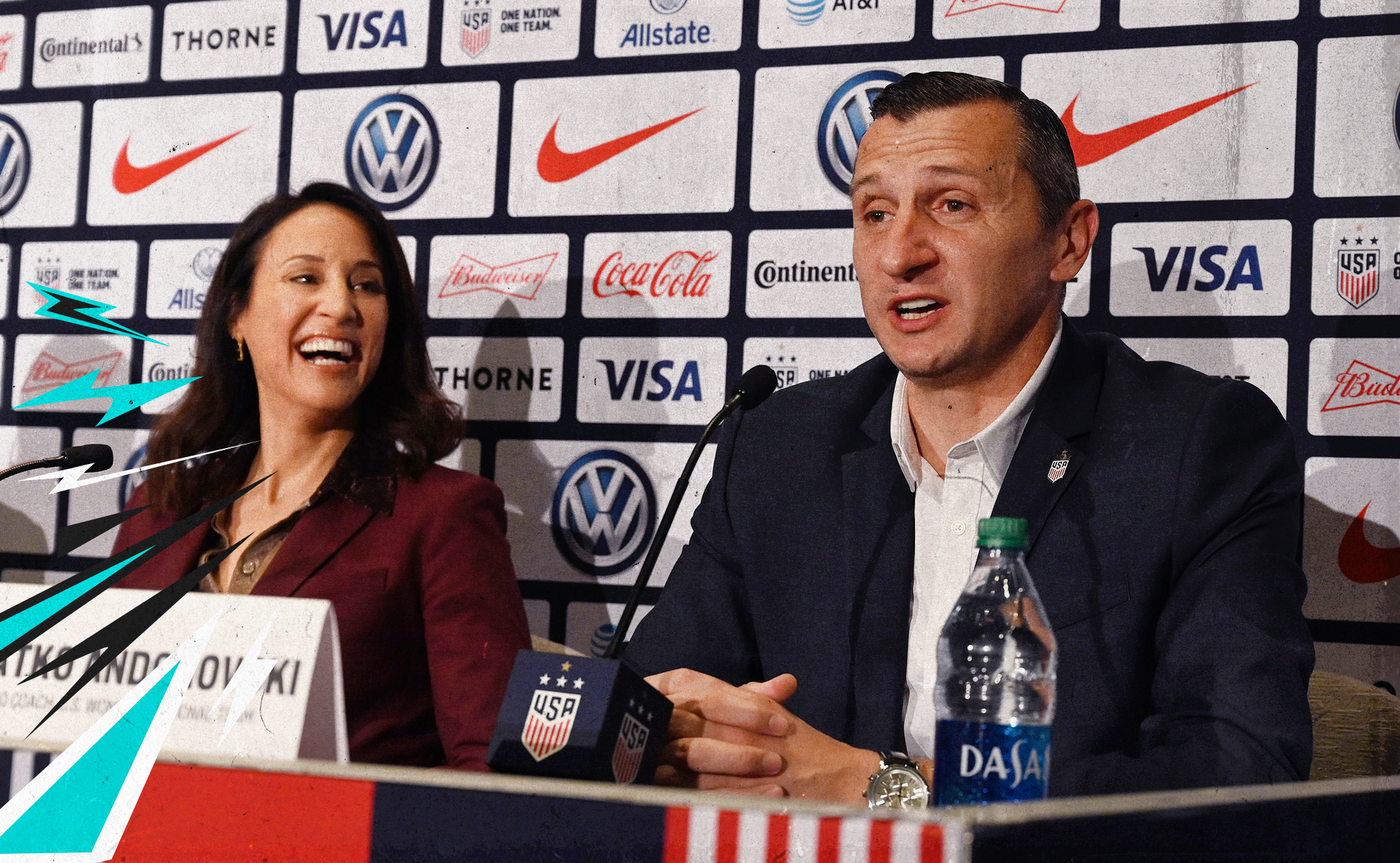 USWNT general manager Kate Markgraf and coach Vlatko Andonovski sitting next to each other at a press conference.
