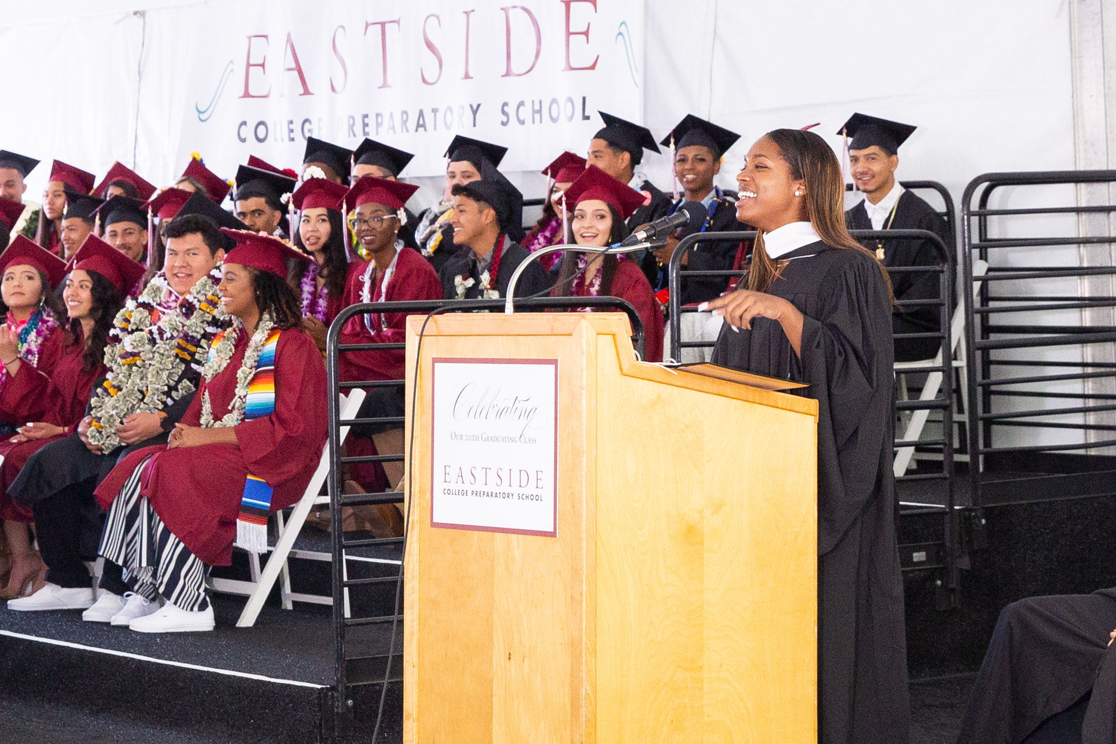 Corine Forward addresses Eastside College Preparatory's 2019 graduating  class on May 31, 2019, about how to use the lessons learned in high school  to thrive in college. Forward, an Eastside 2015 graduate, credits the school's mentoring program for enabling her to head to Columbia University law school in the fall.