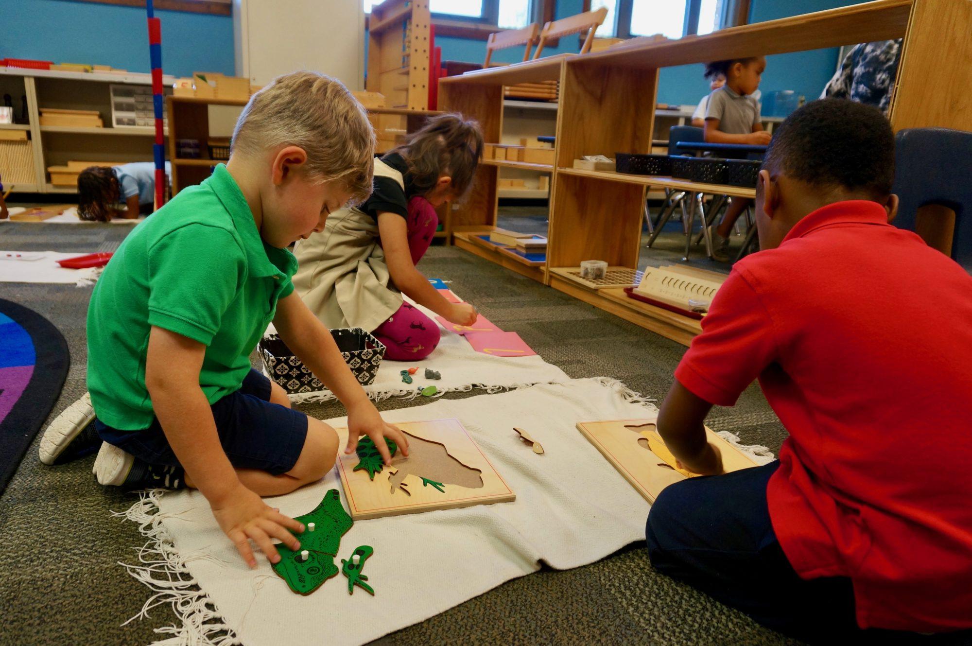 Preschool and kindergarten students at George Washington Carver School 87, a magnet Montessori school in Indianapolis Public Schools.