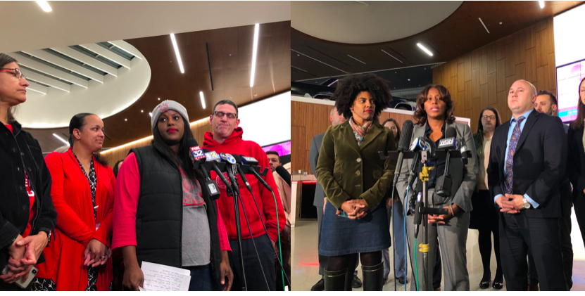 Chicago Teachers Union officials stand with Chicago Public Schools leaders in 2019.