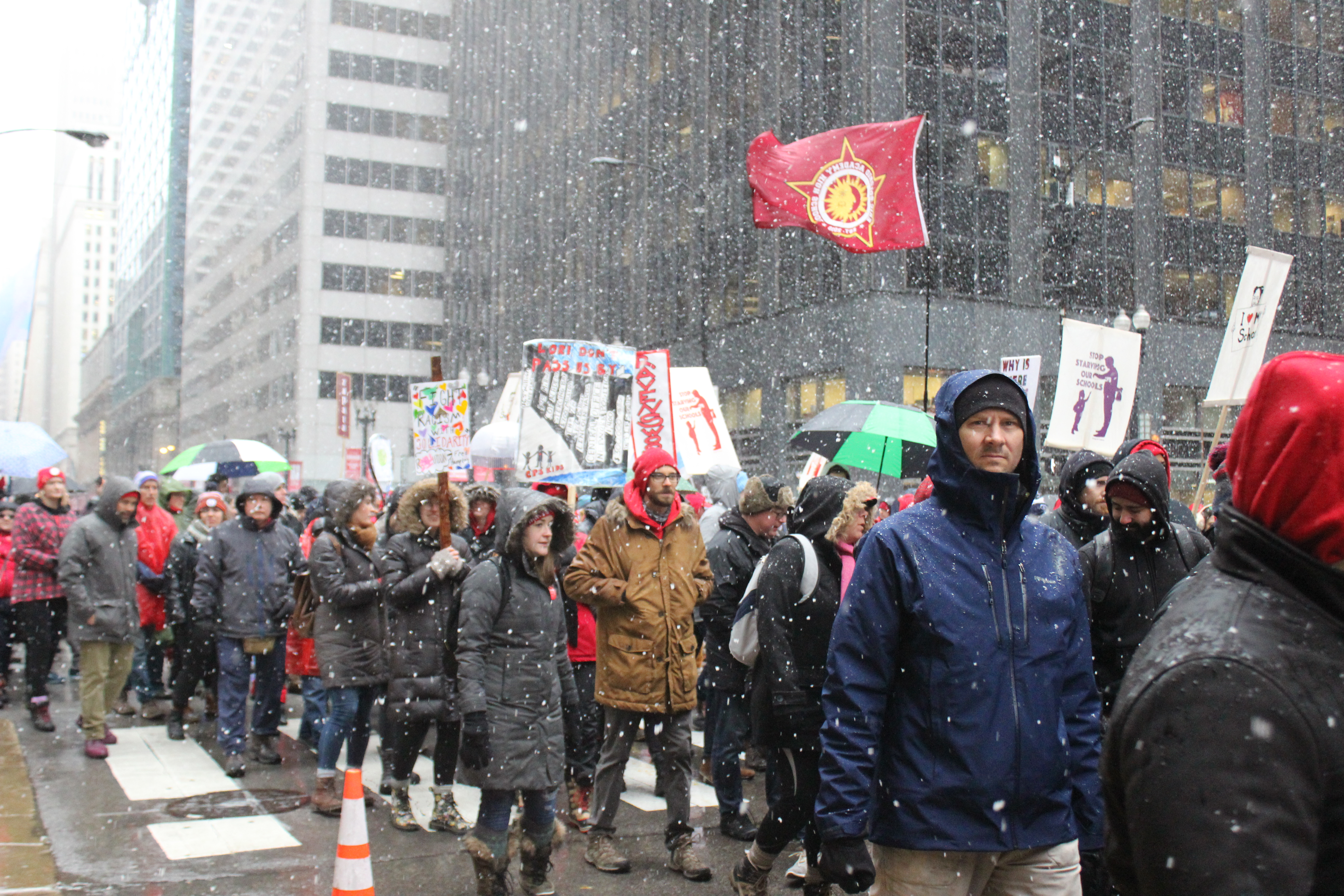 Protesters with the Chicago Teachers Union march in downtown Chicago on Oct. 31, 2019, to press for a contract.