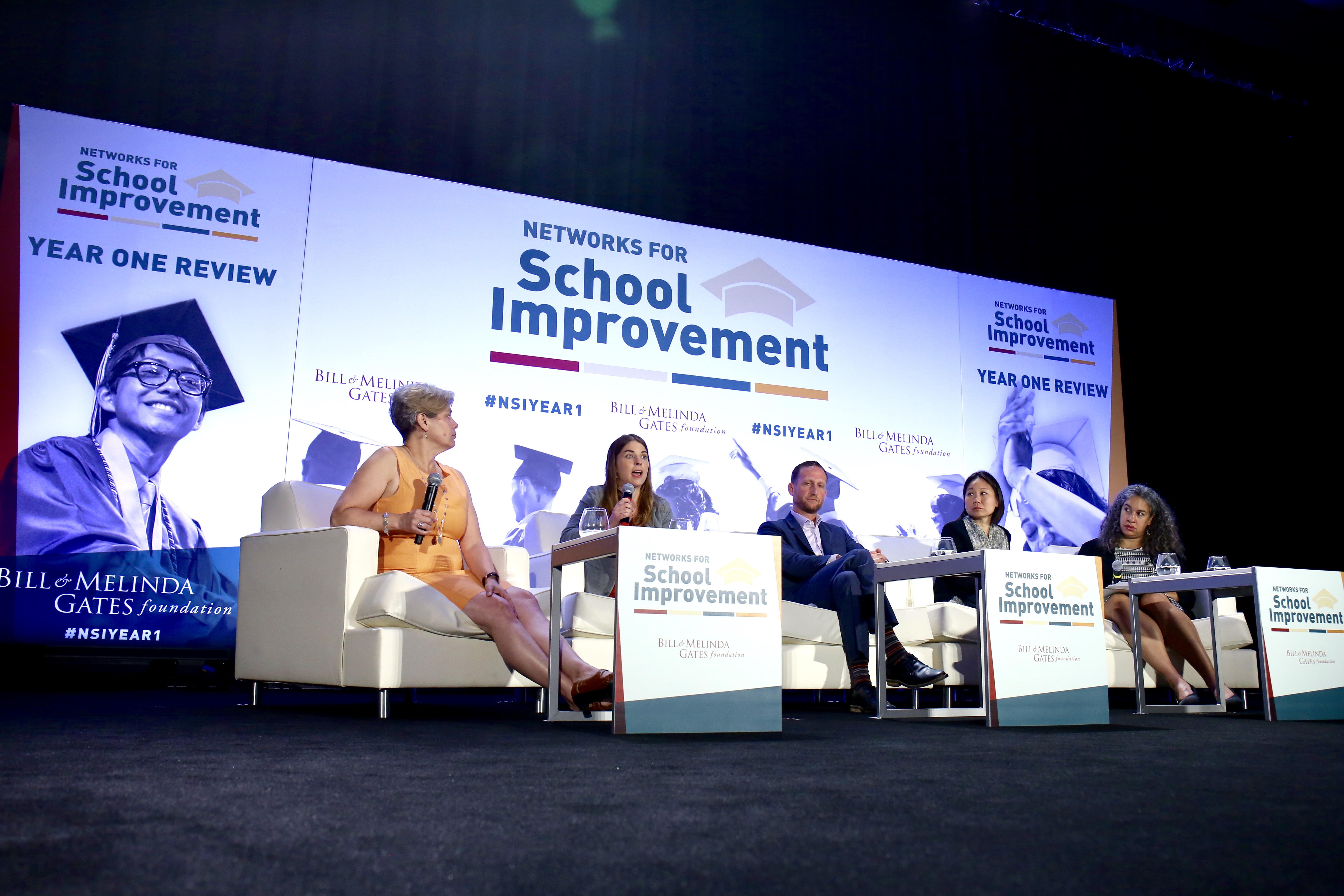Katie Sutter of the KIPP Foundation speaks during a panel on student outcomes at the Gates Foundation's Networks for School Improvement seminar in College Park, Maryland.