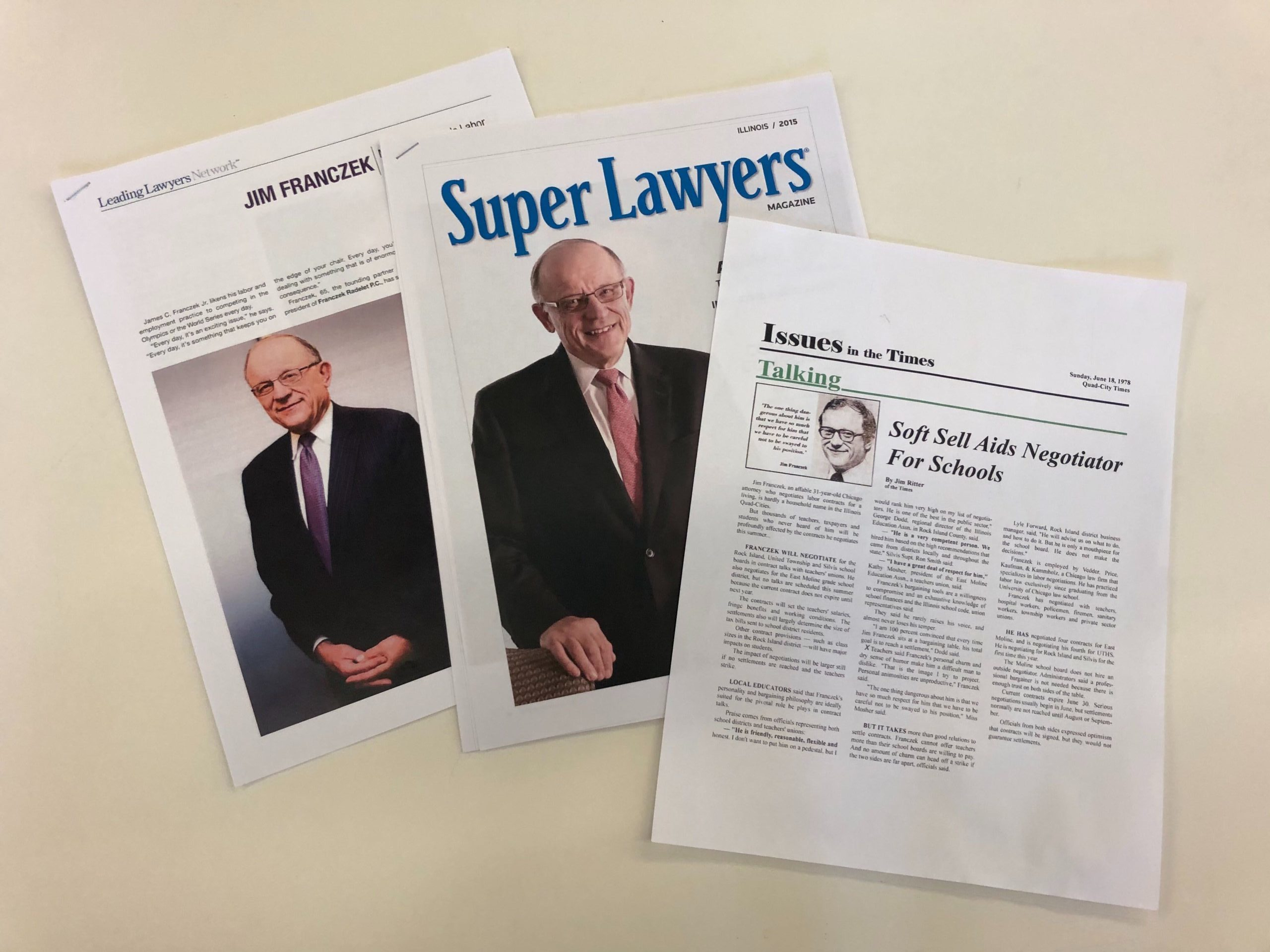 Attorney Jim Franczek has seen some press in his 25 year as a labor attorney.