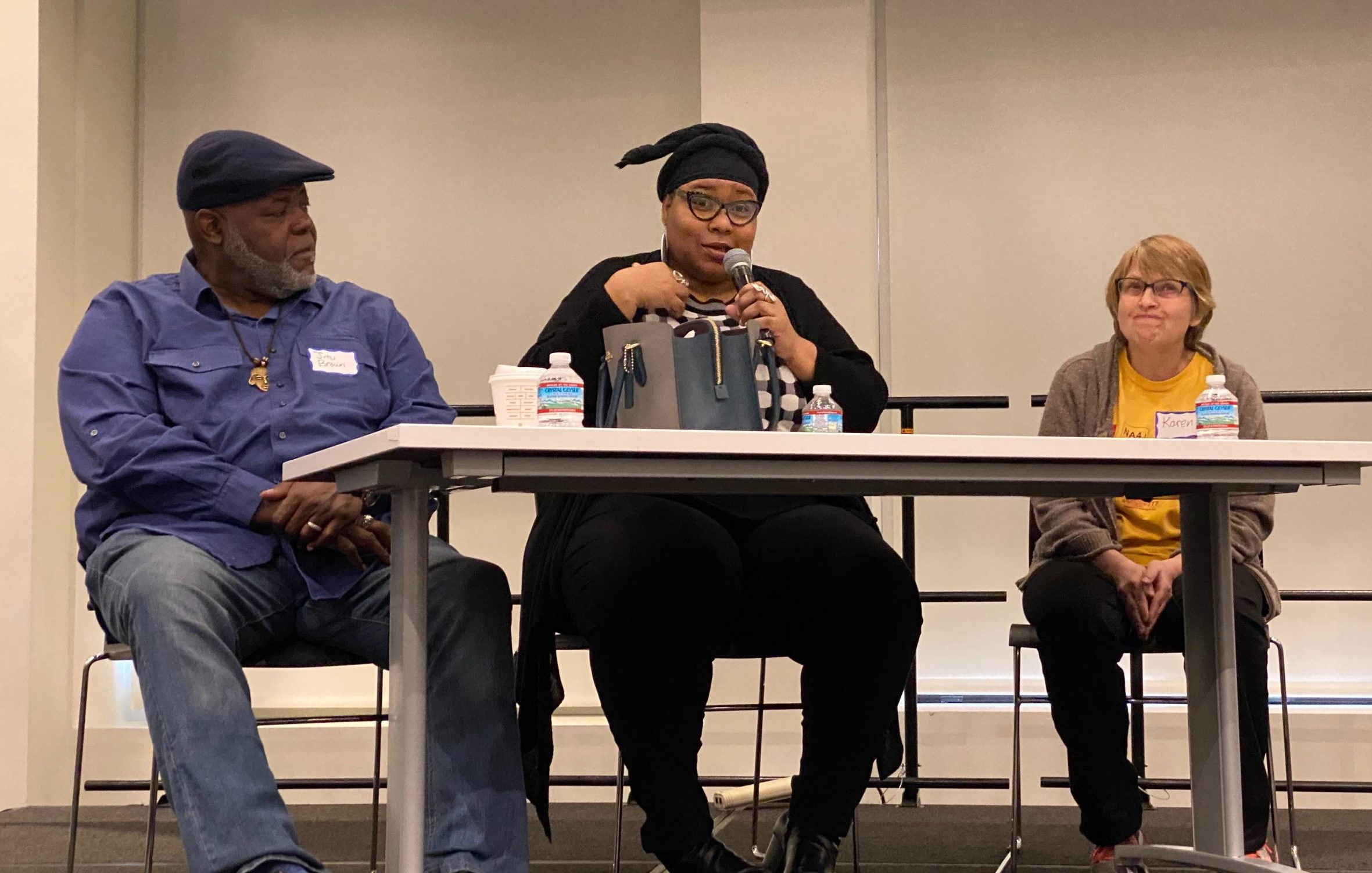 Jitu Brown, director of Journey 4 Justice; Alderman Jeanette Taylor of the 20th Ward; and Karen Zaccor of Northside Action for Justice and teacher at Uplift Community High School speak about the historic importance of Local School Councils, at a meeting Saturday at the Chicago teachers union offices.