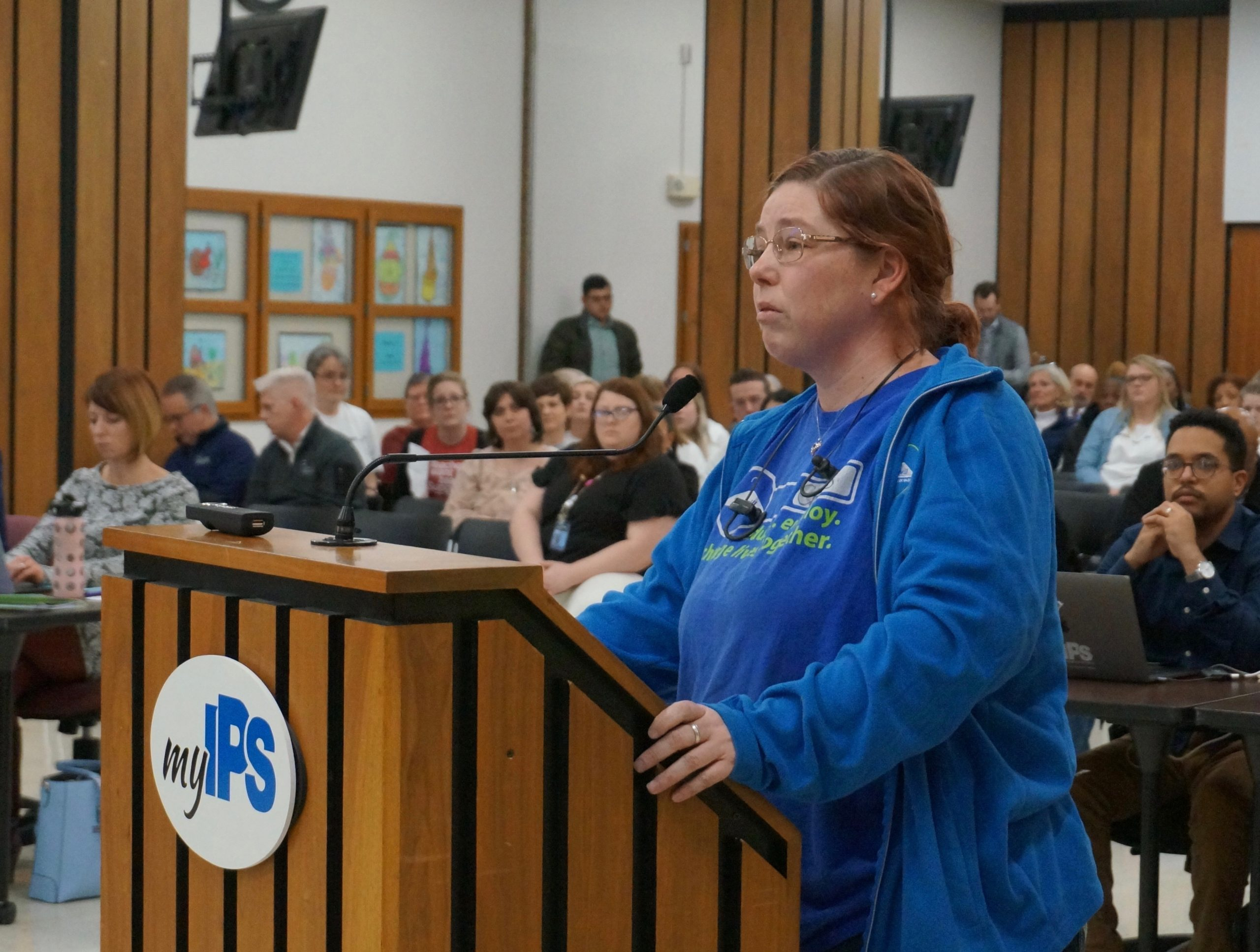 Christina Brown was one of several parents from School 67 who asked the board to keep the current educators.
