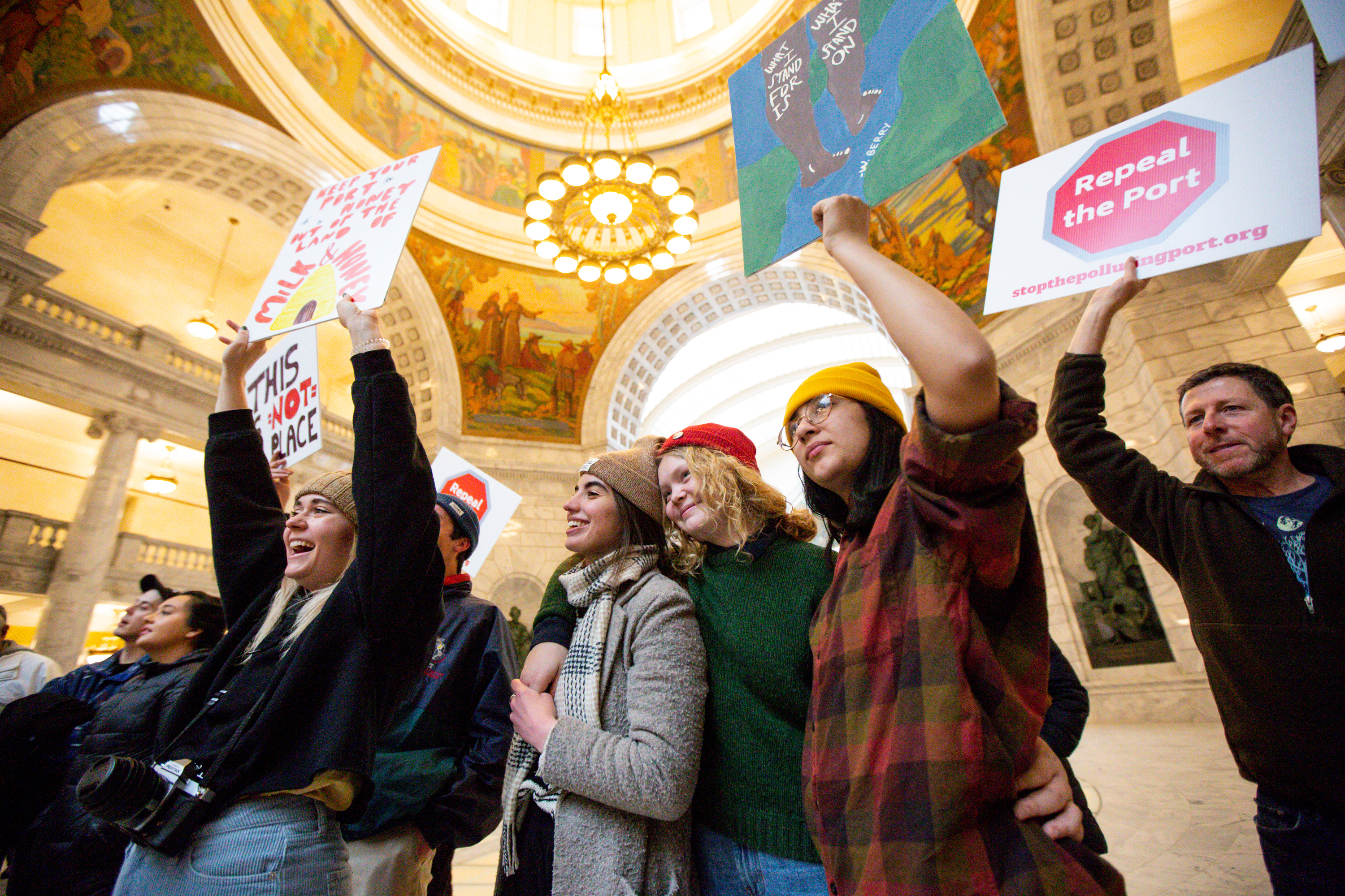 Brigham Young University students Taylor Monney, Kate Foster, Emily Bryson, Tennie Davis and Franchesca Lopez attend a rally held to demonstrate opposition to the Utah Inland Port at the state Capitol in Salt Lake City on Monday, Feb. 3, 2020.