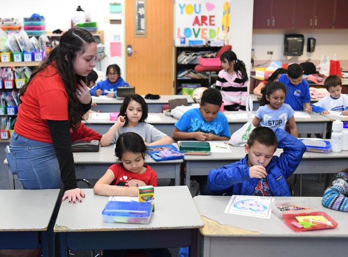 Teacher Hannah Maldonado in her first-grade classroom at Denver's Barnum Elementary School in February 2019.