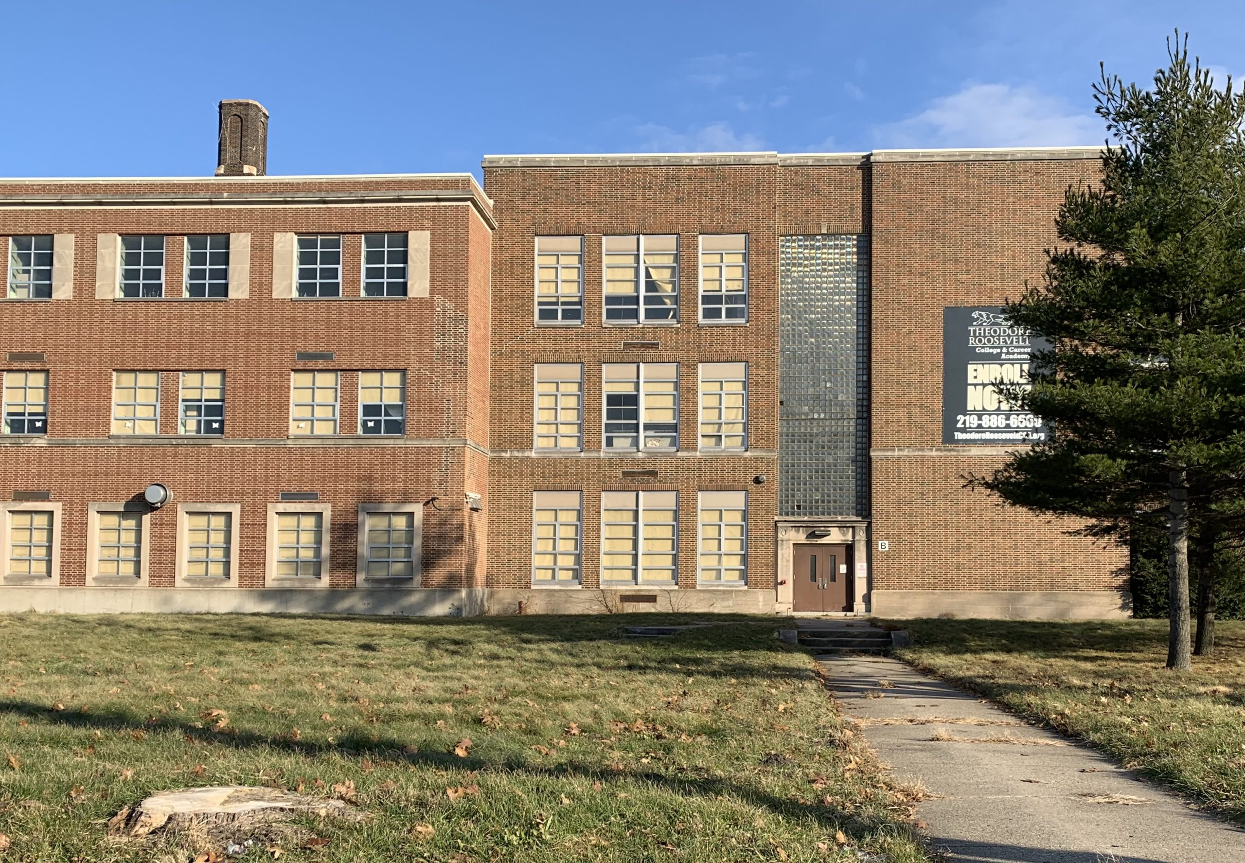 Theodore Roosevelt College & Career Academy in Gary sits empty waiting for repairs in December 2019.