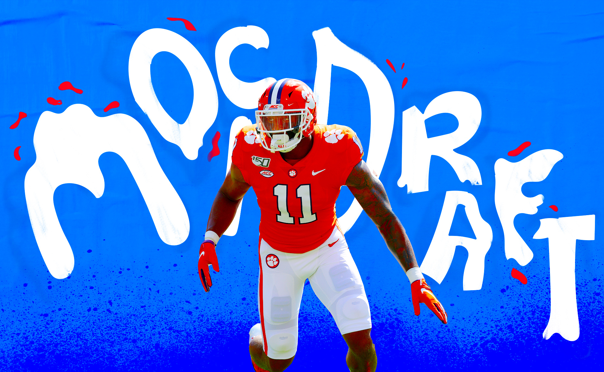 "A photo of NFL prospect/Clemson LB Isaiah Simmons, superimposed on a blue background with the words ""MOCK DRAFT"" in white cartoonish letters"