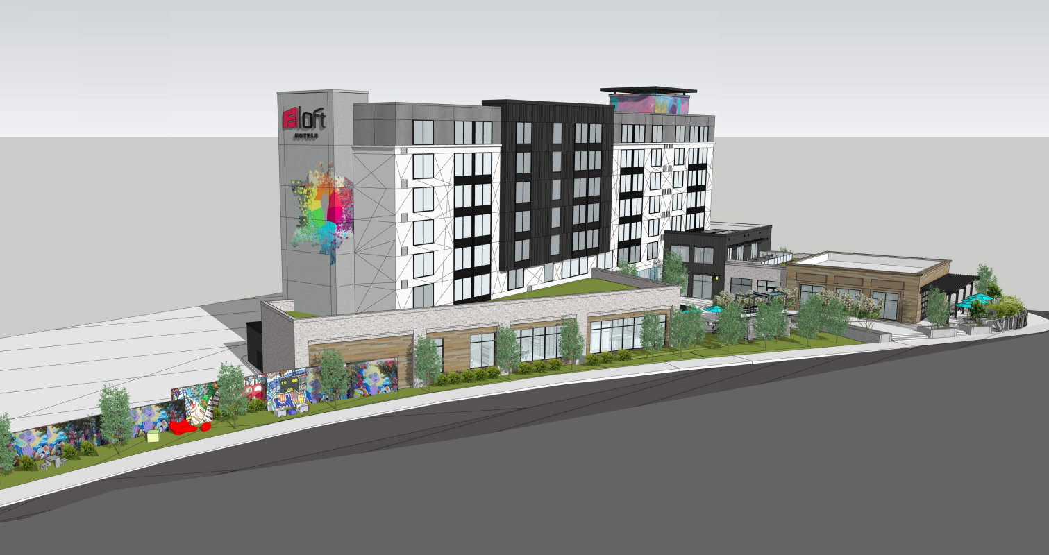 A rendering of the proposed hotel.