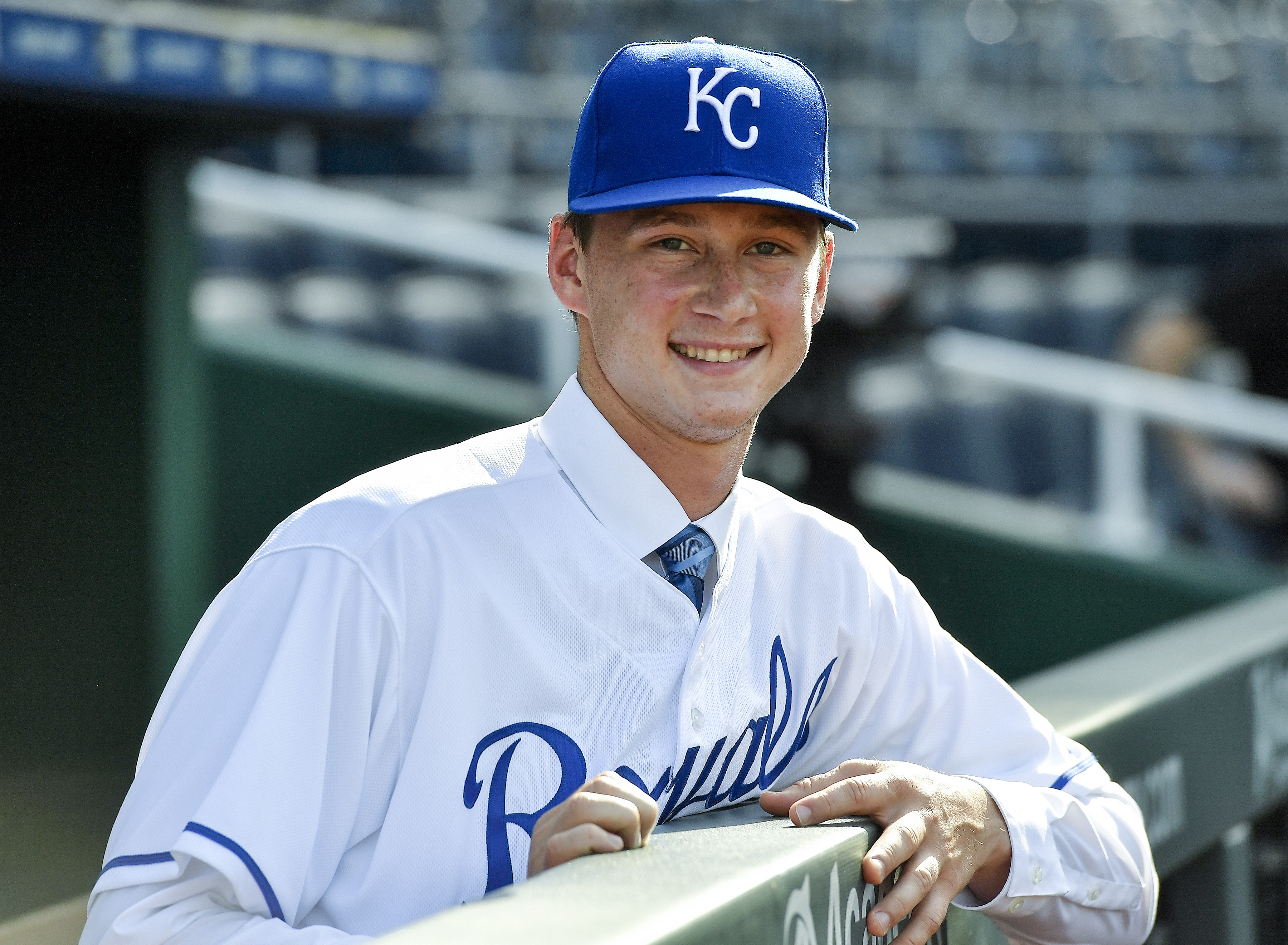 Right-handed pitcher Brady Singer, the Kansas City Royals' top pick of the 2018 draft, after a news conference announcing his signing before a game on Tuesday, July 3, 2018, at Kauffman Stadium in Kansas City, Mo.