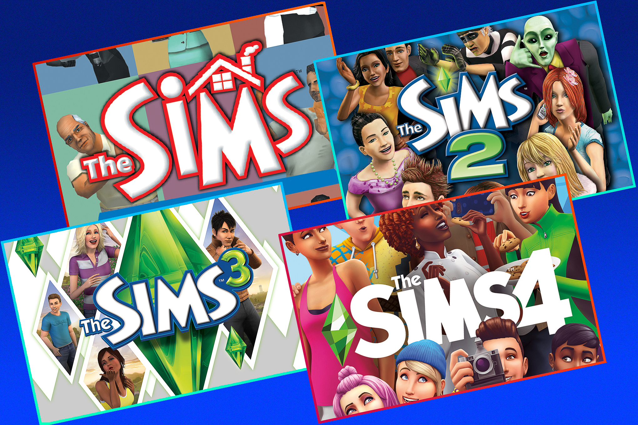 graphic illustration featuring covers from The Sims, The Sims 2, The Sims 3, and The Sims 4 in four rectangles rotated to the left