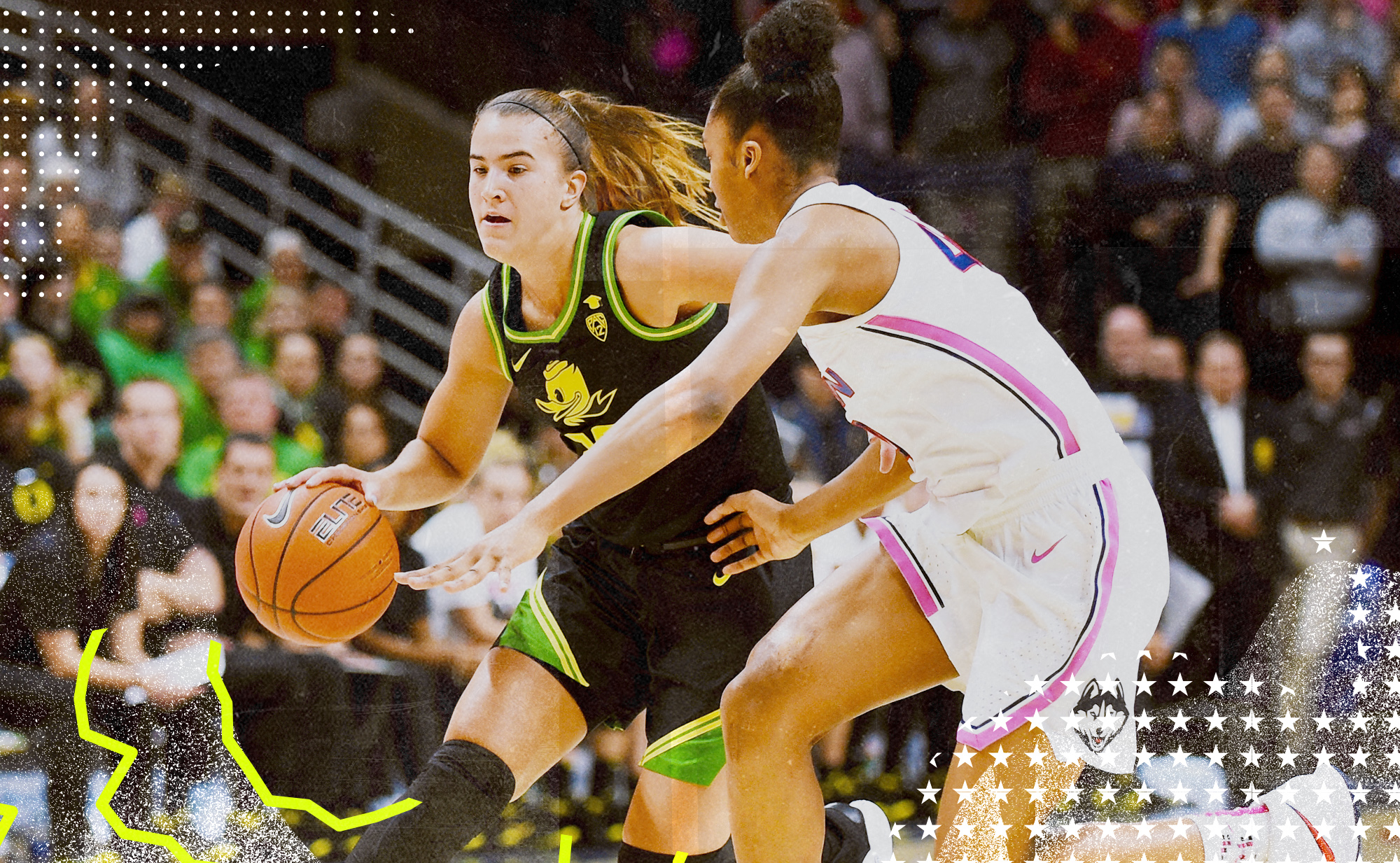 Oregon Ducks guard Sabrina Ionescu handles the ball while defended by UConn Huskies guard Aubrey Griffin.