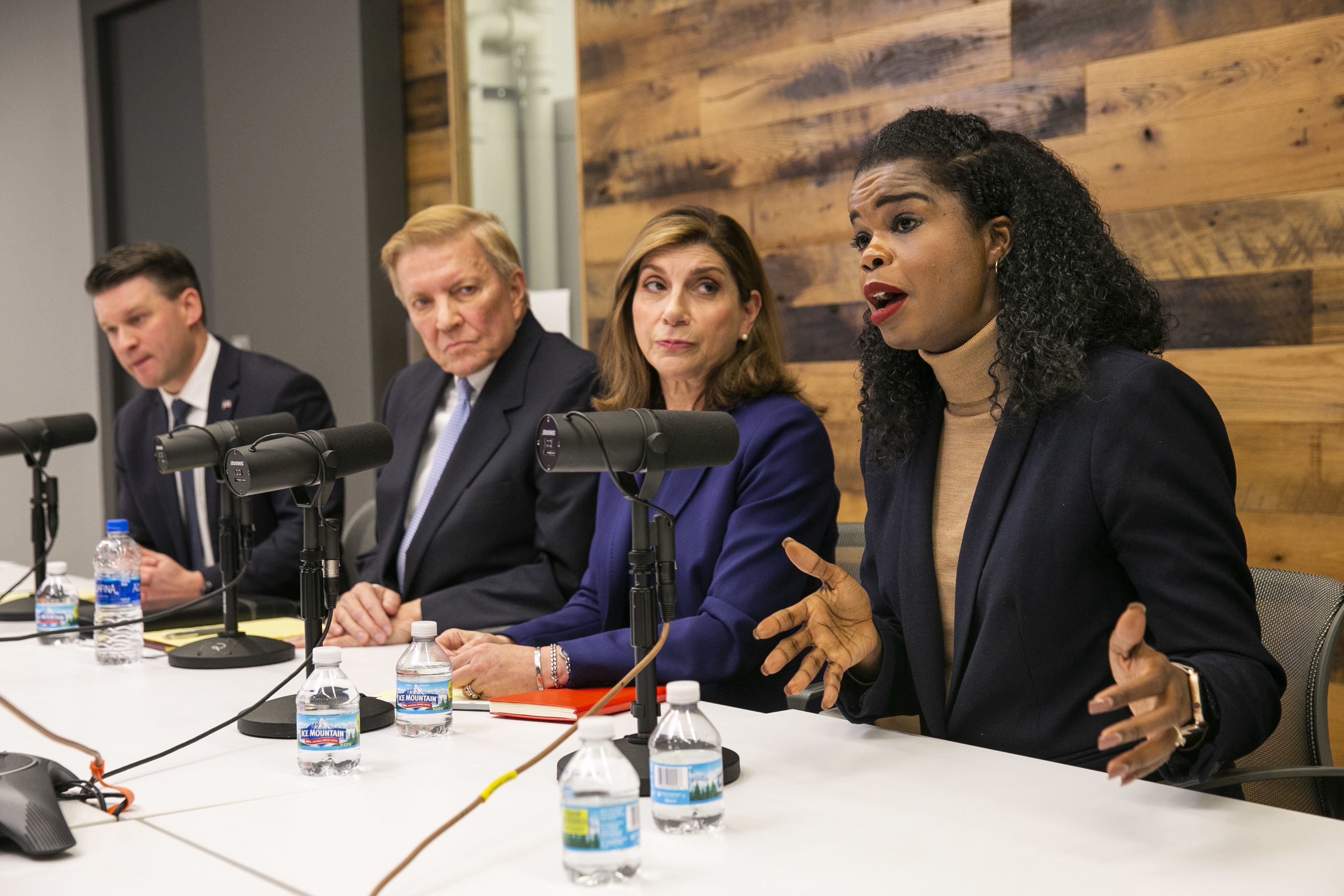 Cook County Democratic State's Attorney candidates, from left, Bill Conway, Bob Fioretti, Donna More and incumbent Kim Foxx meet with the Sun-Times Editorial Board on Tuesday.