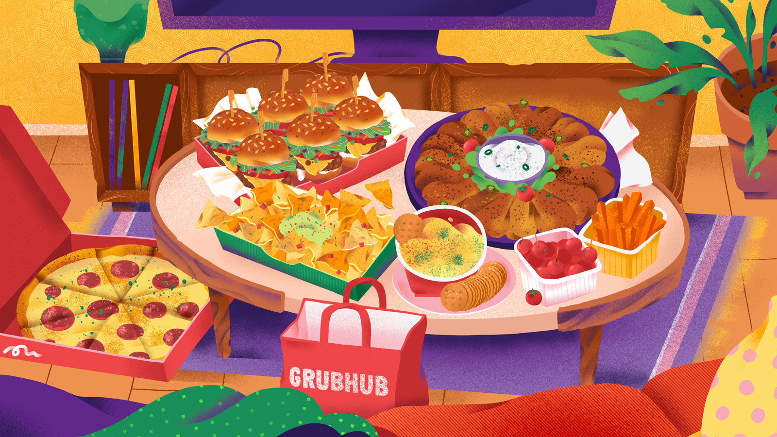 A colorful illustration of a living room, showing a coffee table filled with game-day party foods — wings, sliders, chips, crackers, and more.