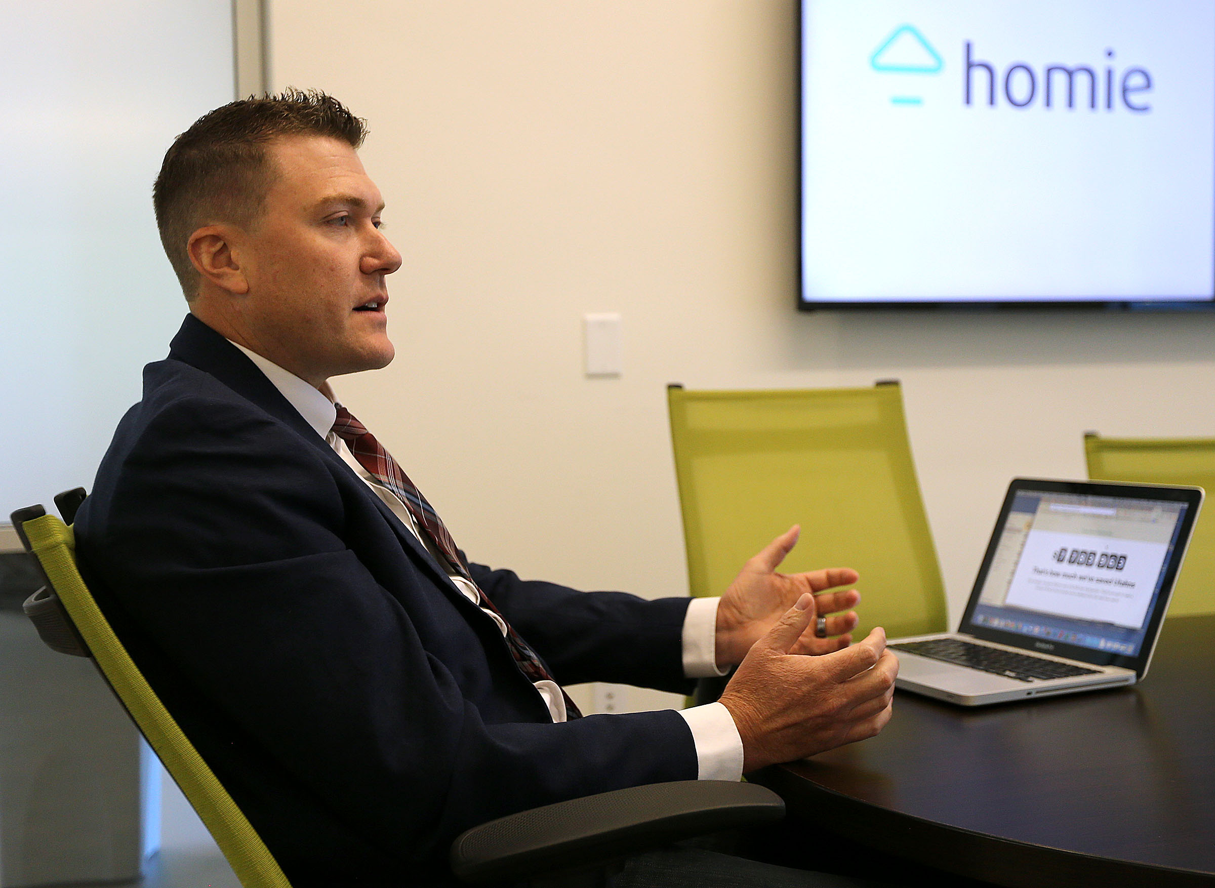 Johnny Hanna, CEO and co-founder of Homie, talks about his startup at the the company's headquarters in Draper on Wednesday, June 7, 2017.