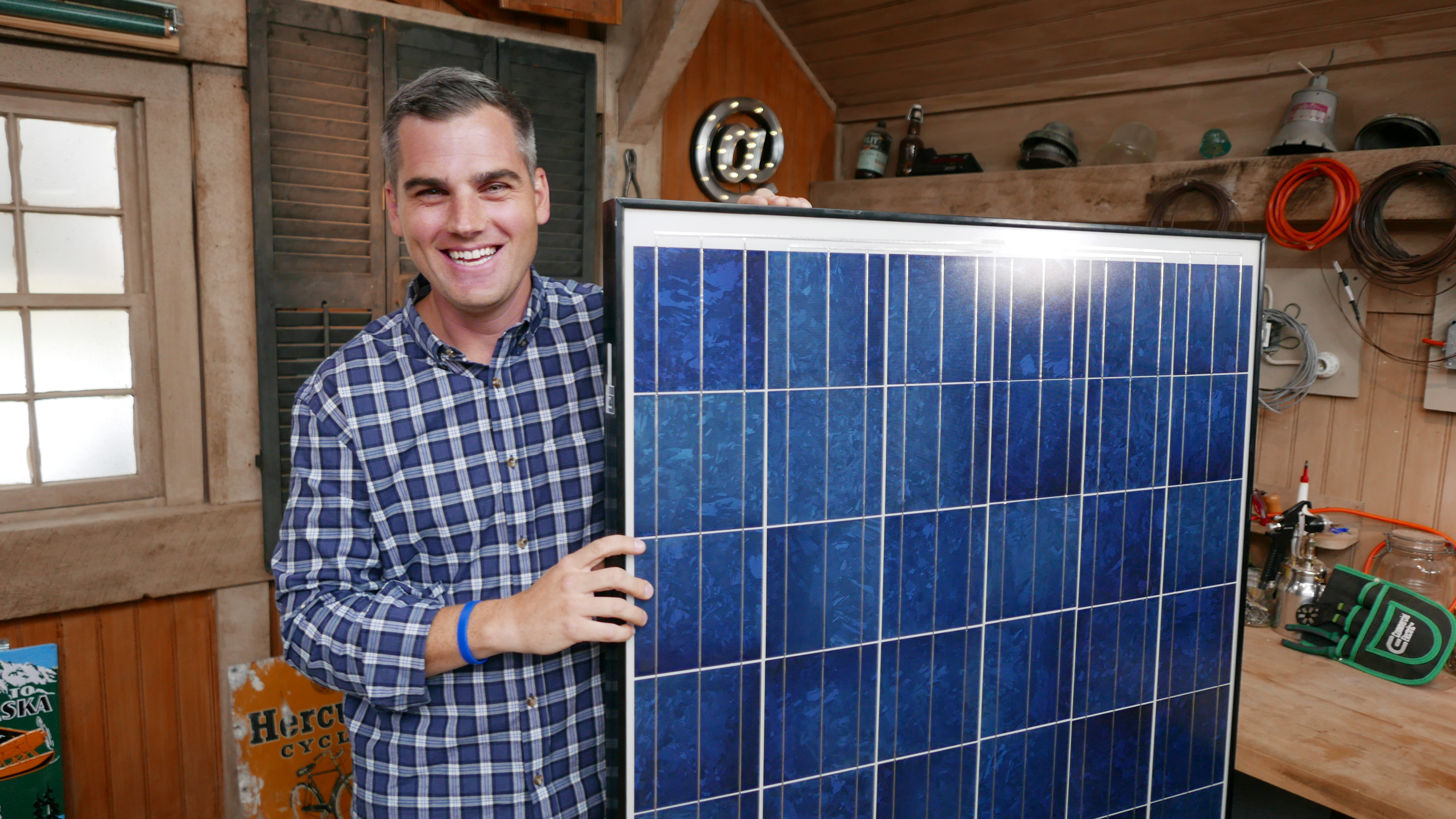 Holding a solar panel