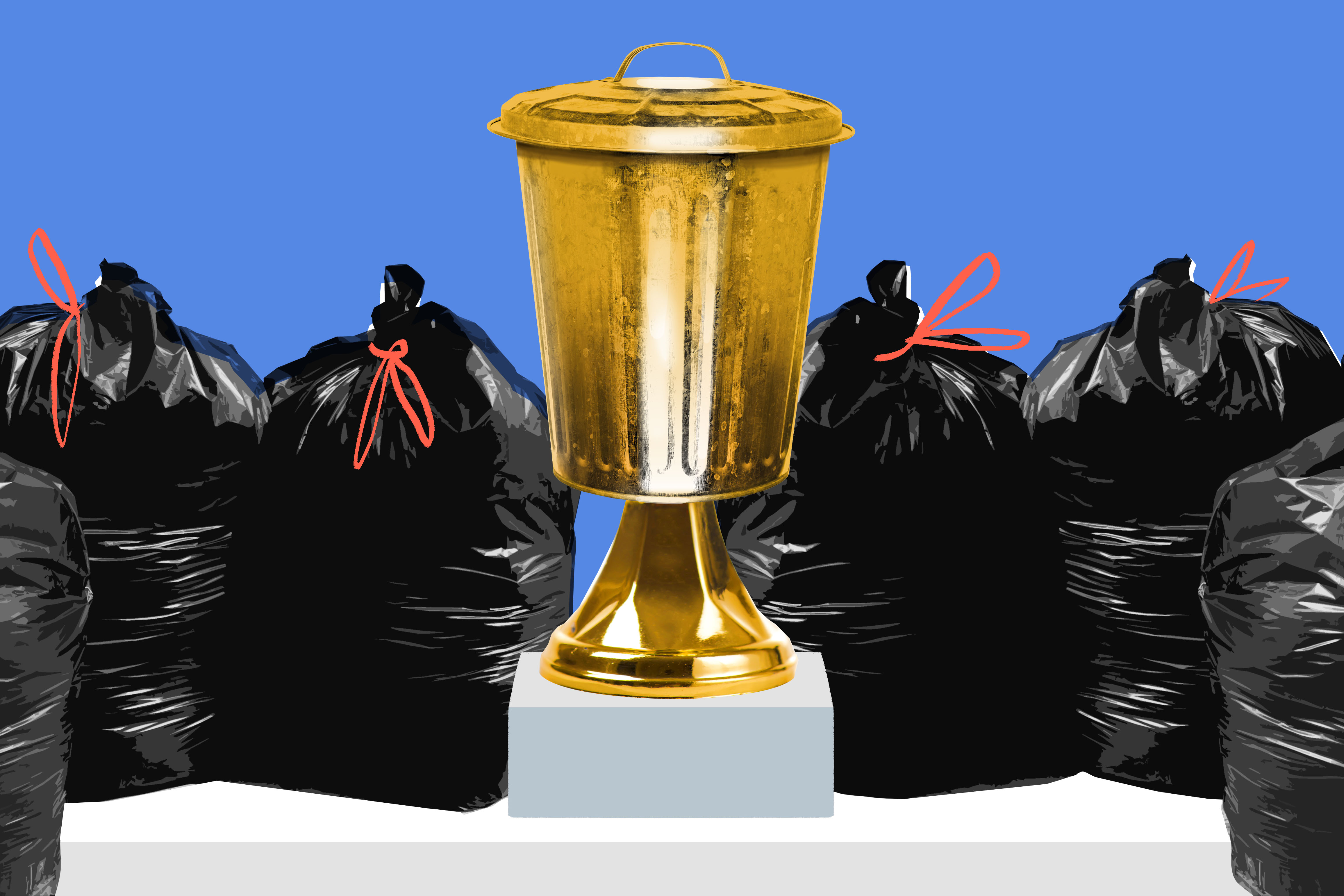 Garbage bags of trash are seen piled up around a trash can that's painted gold to look like a trophy.