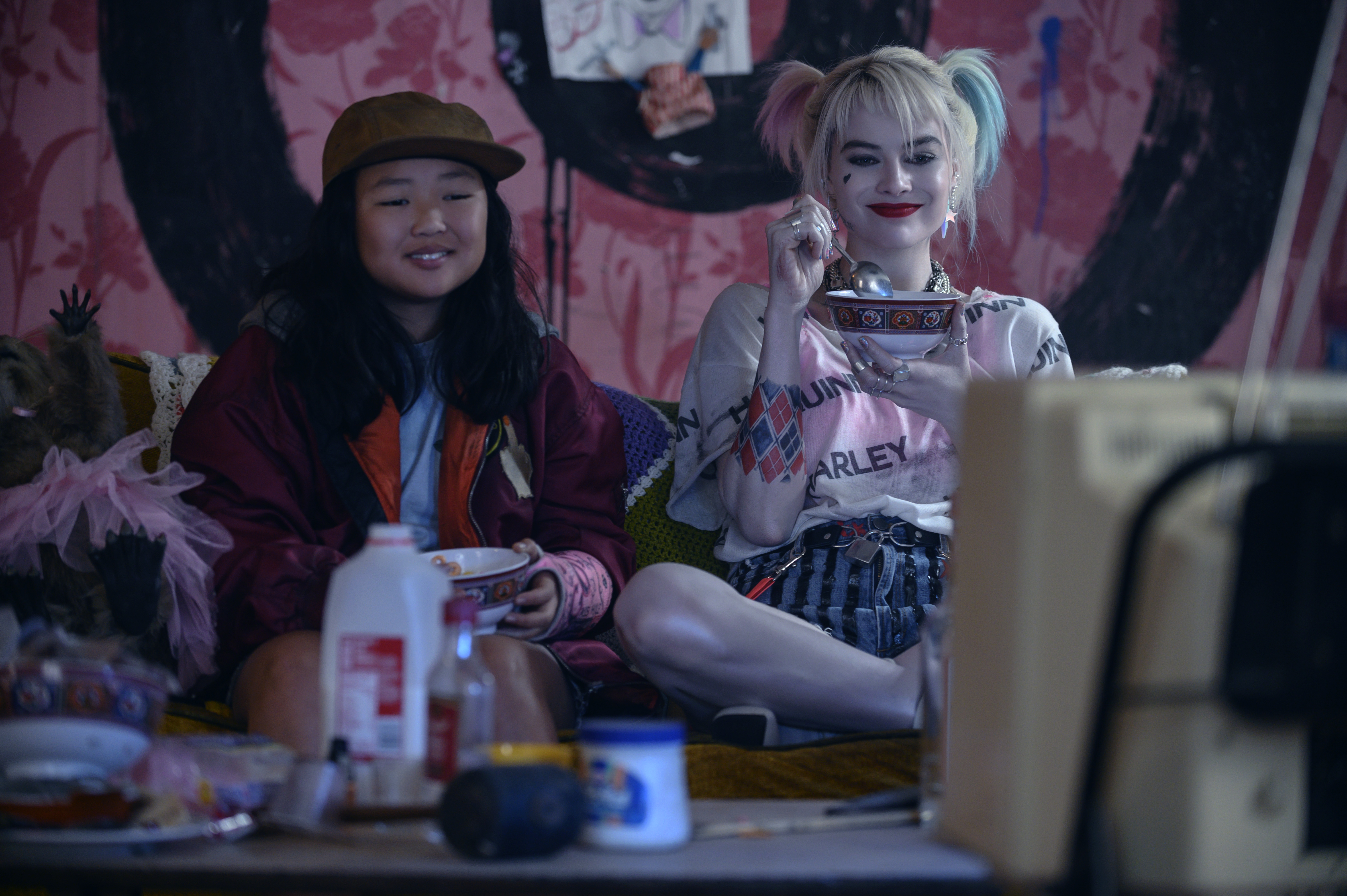 """Margot Robbie as Harley Quinn and Ella Jay Basco as Cassandra Cain in Warner Bros. Pictures' """"Birds of Prey (And the Fantabulous Emancipation of One Harley Quinn)."""