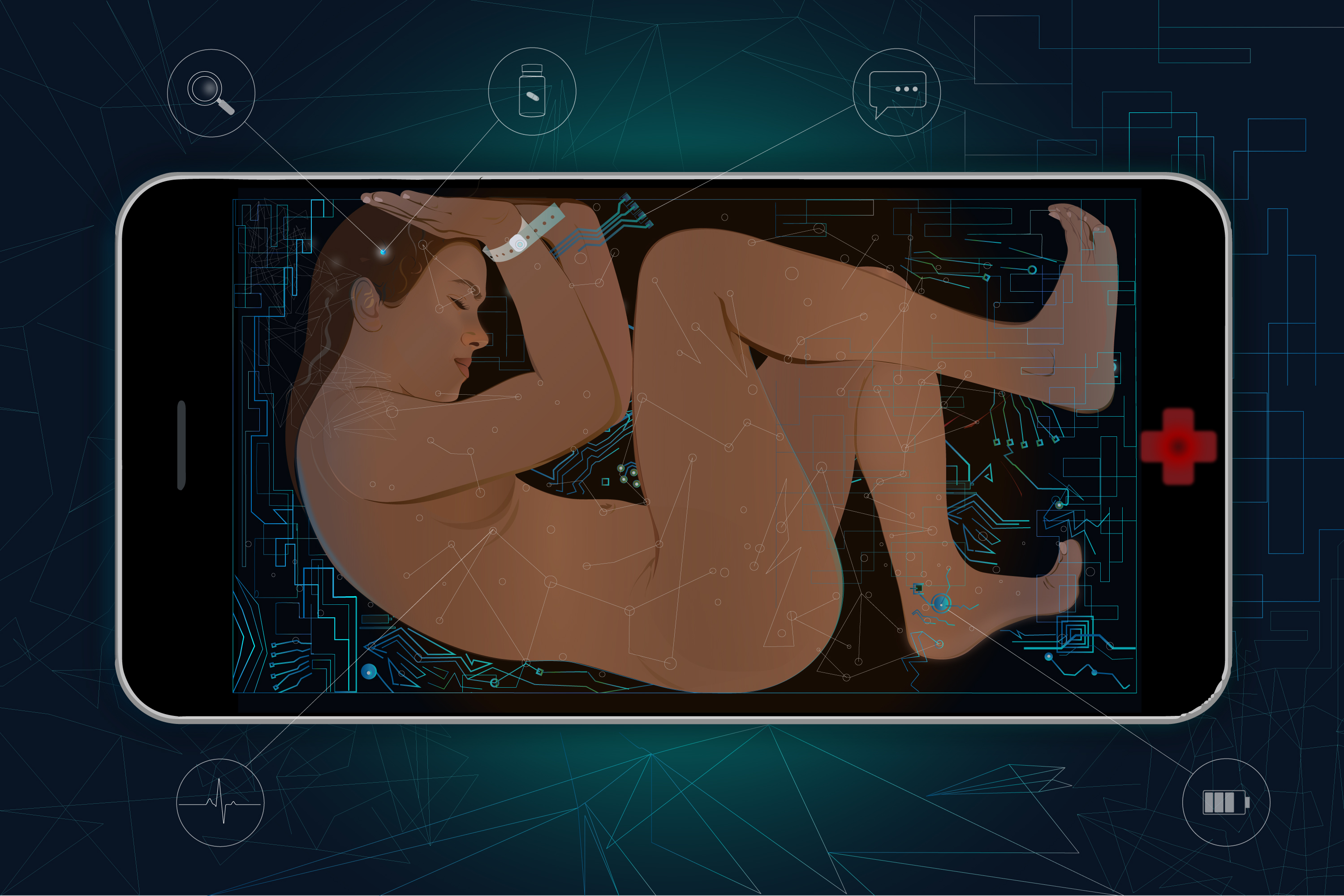 An illustration of a person trapped framed by a cell phone.