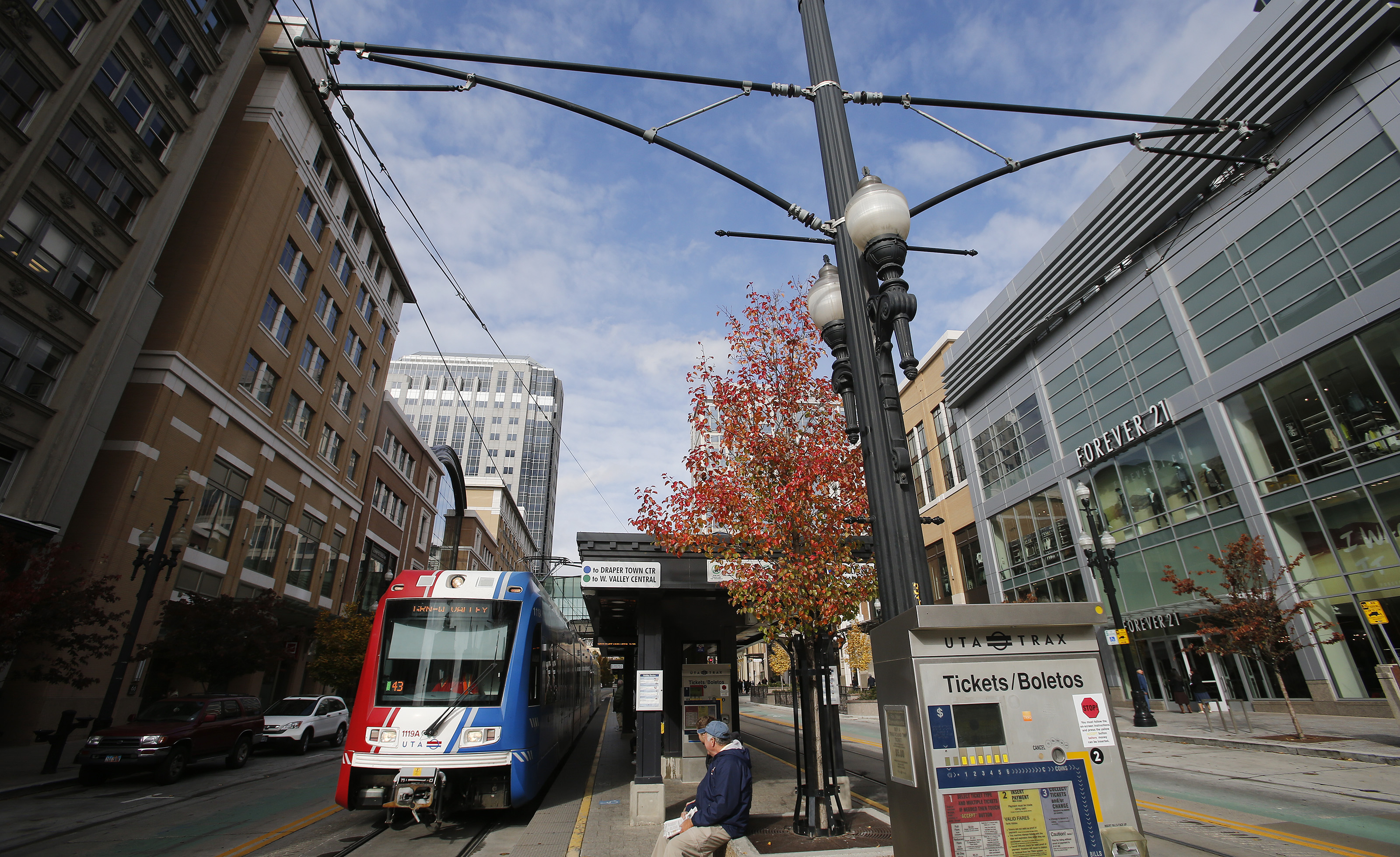 A UTA TRAX train operates in downtown Salt Lake City Wednesday, Oct. 30, 2013.