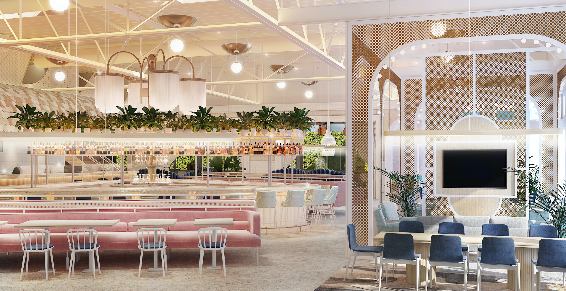 A rendering of the dining room at Sauce shows plants floating above a blush pink banquette and a long table with blue seats in front of a television.