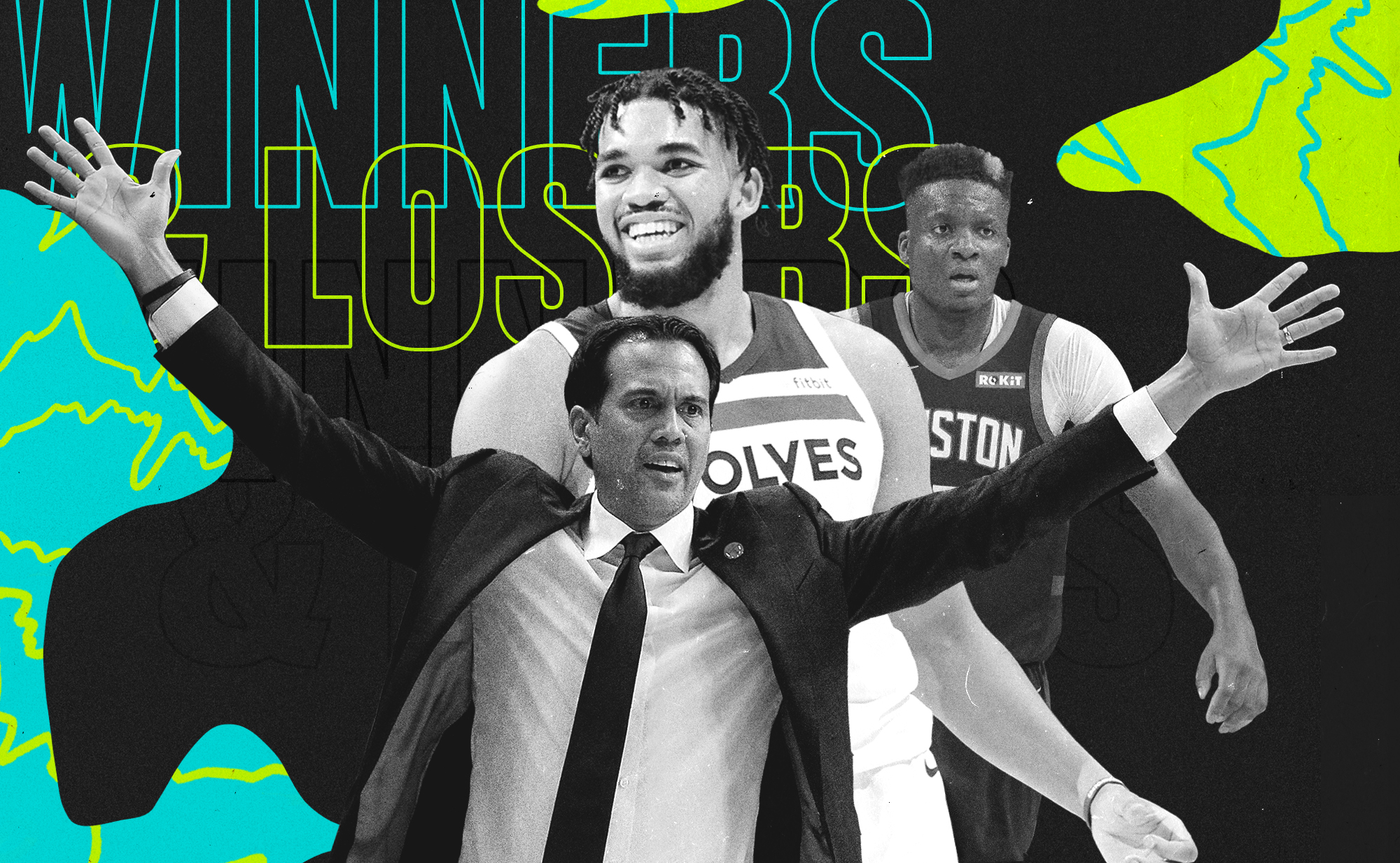 A collage of Erik Spoelstra, Karl-Anthony Towns, and Clint Capela.