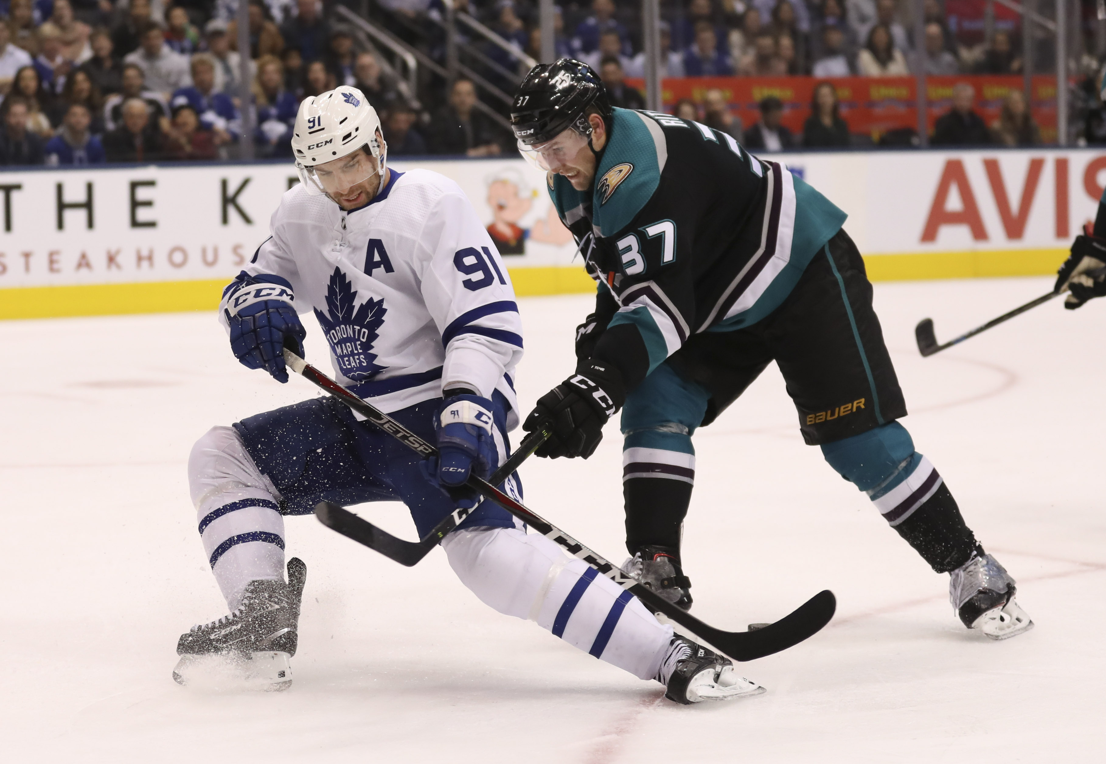 The Toronto Maple Leafs played the Anaheim Ducks at the Scotiabank Arena