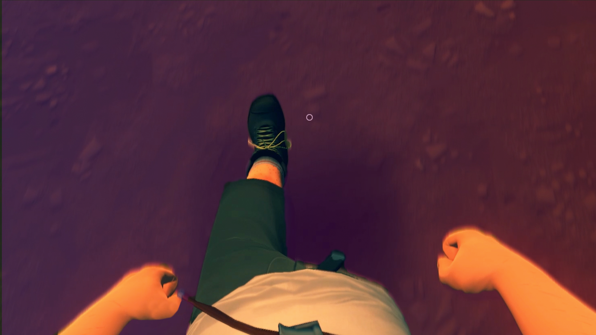 An image from the first person video game Firewatch where the camera is looking down at the character's shoes.