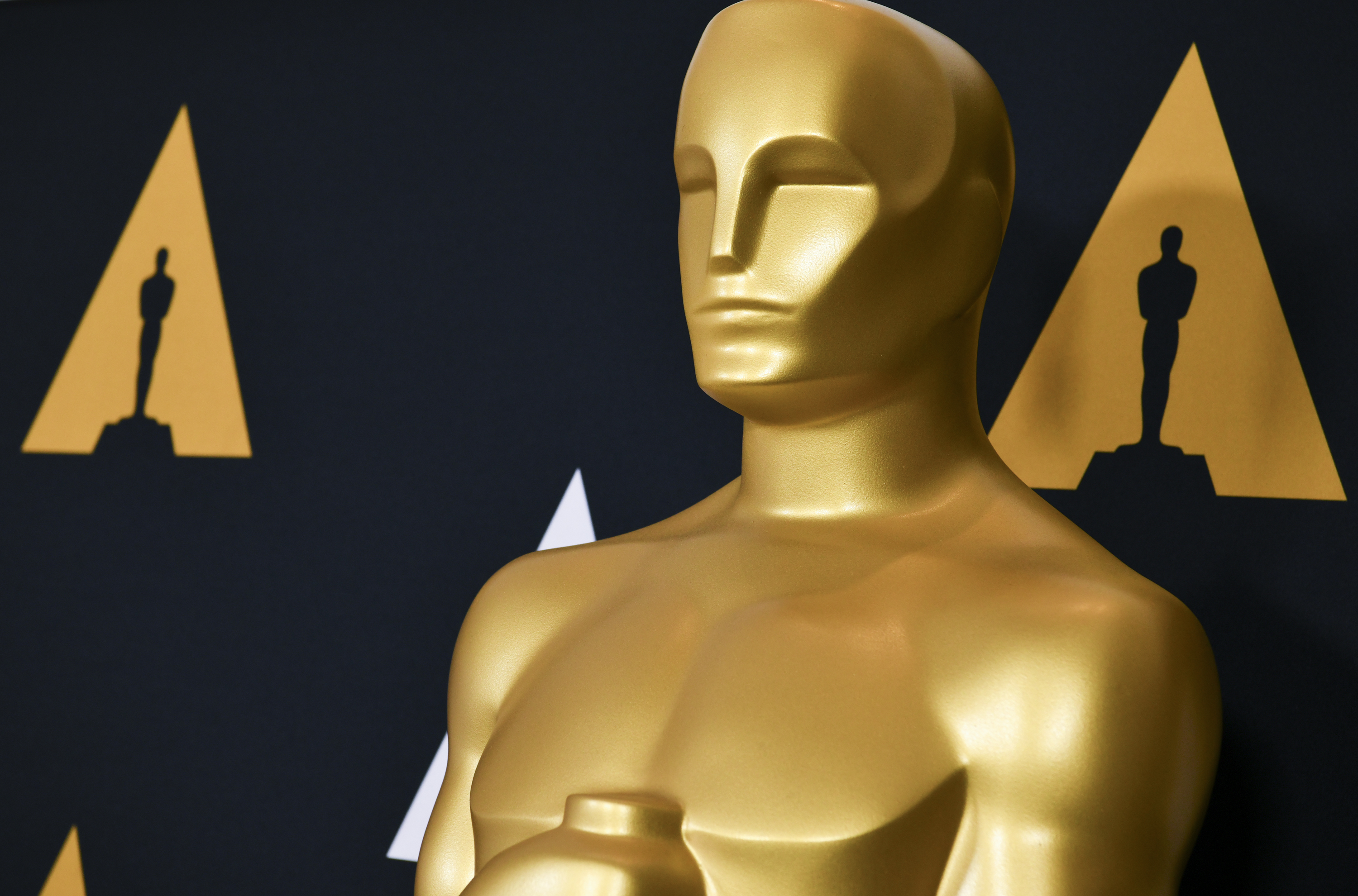 a close-up of a giant Academy Award statue