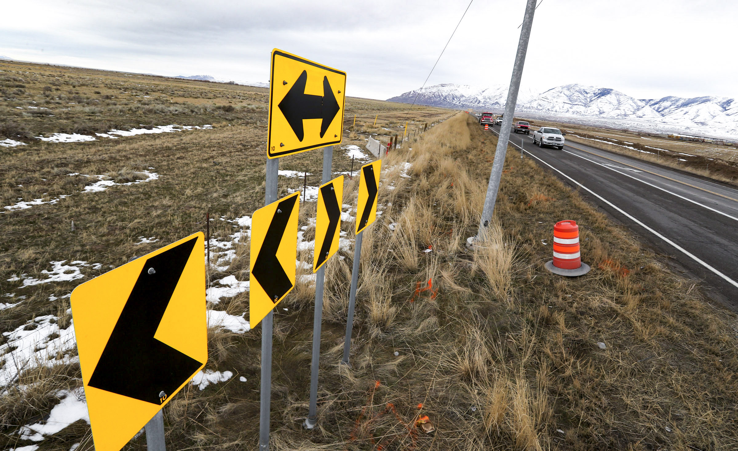 """The intersection at Sheep Lane and state Route 138 in Erda, Tooele County, is pictured on Friday, Feb. 7, 2020. Tooele County leaders and developers have put together a proposal for a """"central hub"""" or satellite location Utah Inland Port, but port authority leaders and state leaders say it's way too early to decide whether it's viable."""