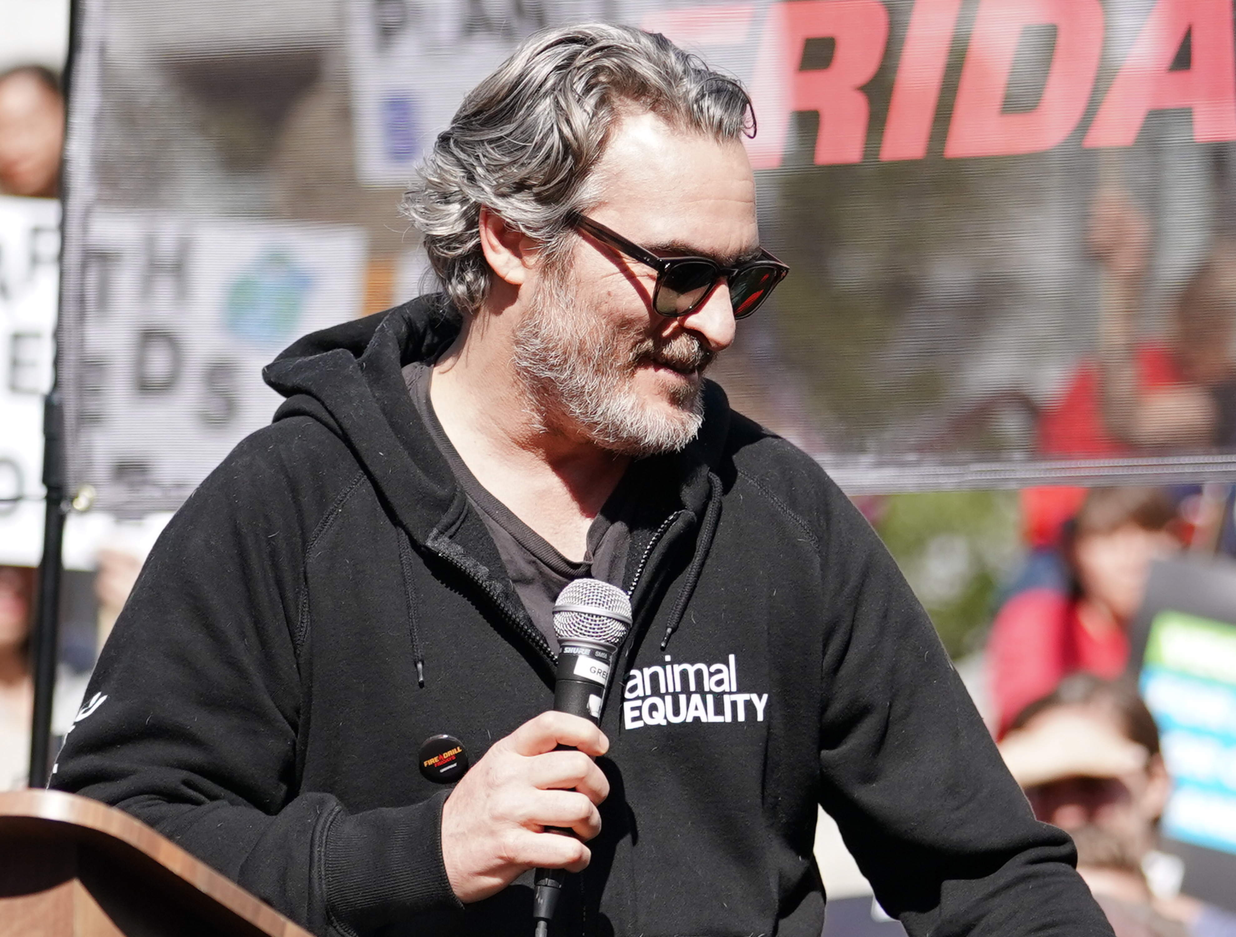 Joaquin Phoenix participates in Jane Fonda's Fire Drill Friday climate change rally at Los Angeles City Hall on February 07, 2020 in Los Angeles, California.