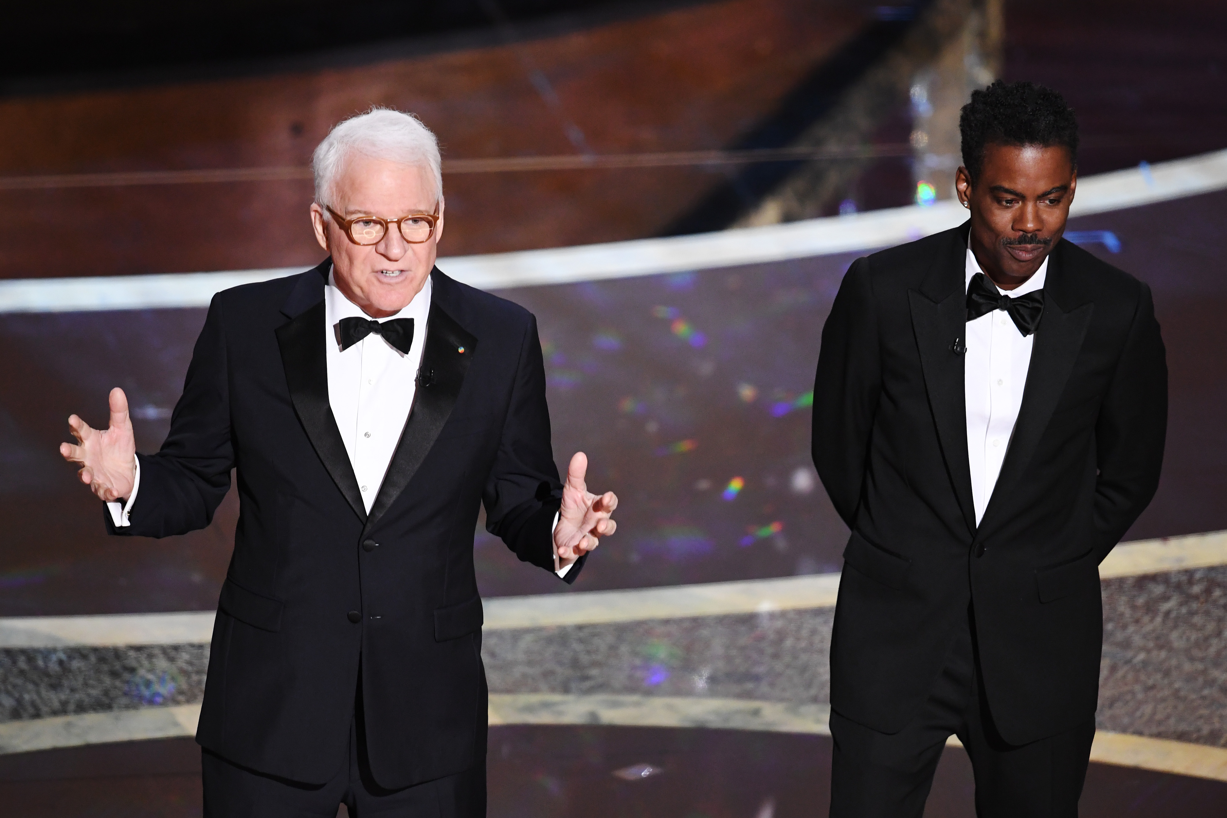 Steve Martin and Chris Rock onstage at the Oscars.