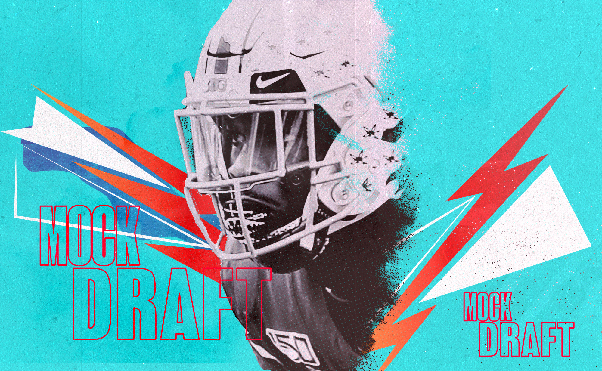 "A closeup of NFL Draft prospect Jeff Okudah (Ohio State CB), superimposed on an aqua background with red and white lightning bolts and the words ""MOCK DRAFT"""