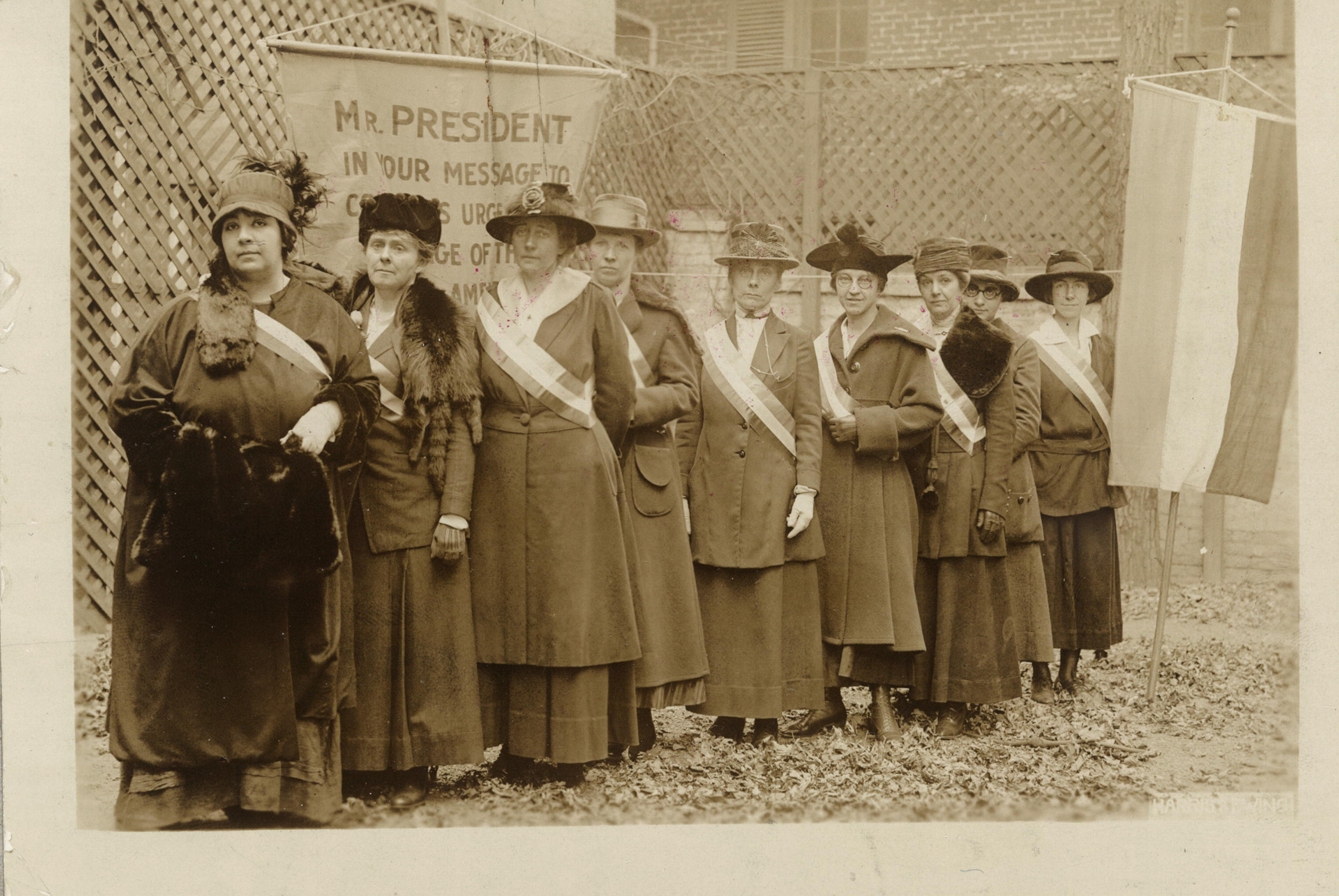 Suffrage picketers in Washington, D.C., on Nov. 10, 1917. Lovern Robertson of Salt Lake City is fourth from the left.