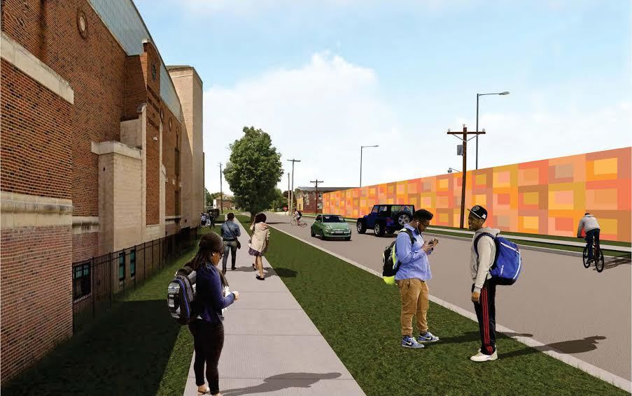 Rendering of kids with backpacks across the street from a orange and red geometrical mural on a wall.