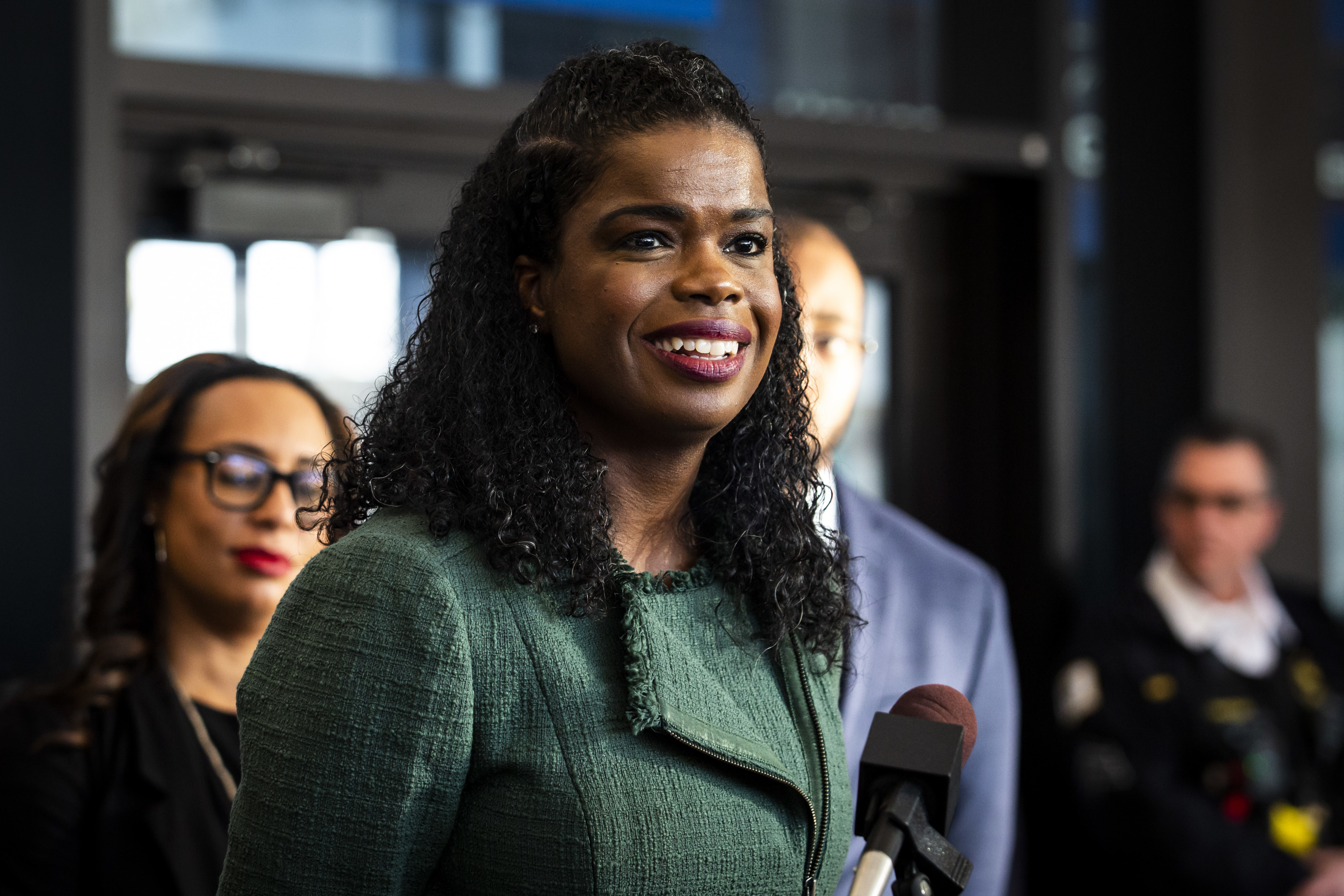 Cook County State's Attorney Kim Foxx speaks at a press conference at the Leighton Criminal Courthouse after filing motions to vacate more than 1,000 low-level cannabis convictions.