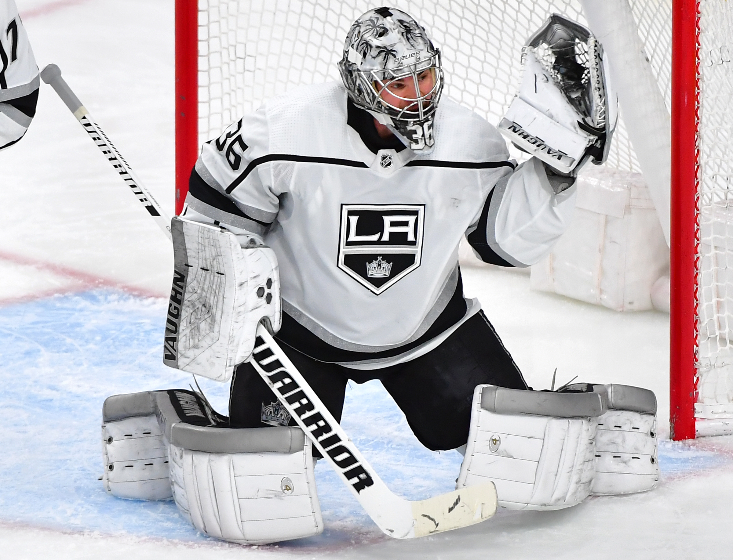 Jan 9, 2020; Las Vegas, Nevada, USA; Los Angeles Kings goaltender Jack Campbell (36) makes a glove save against the Vegas Golden Knights during the first period at T-Mobile Arena.
