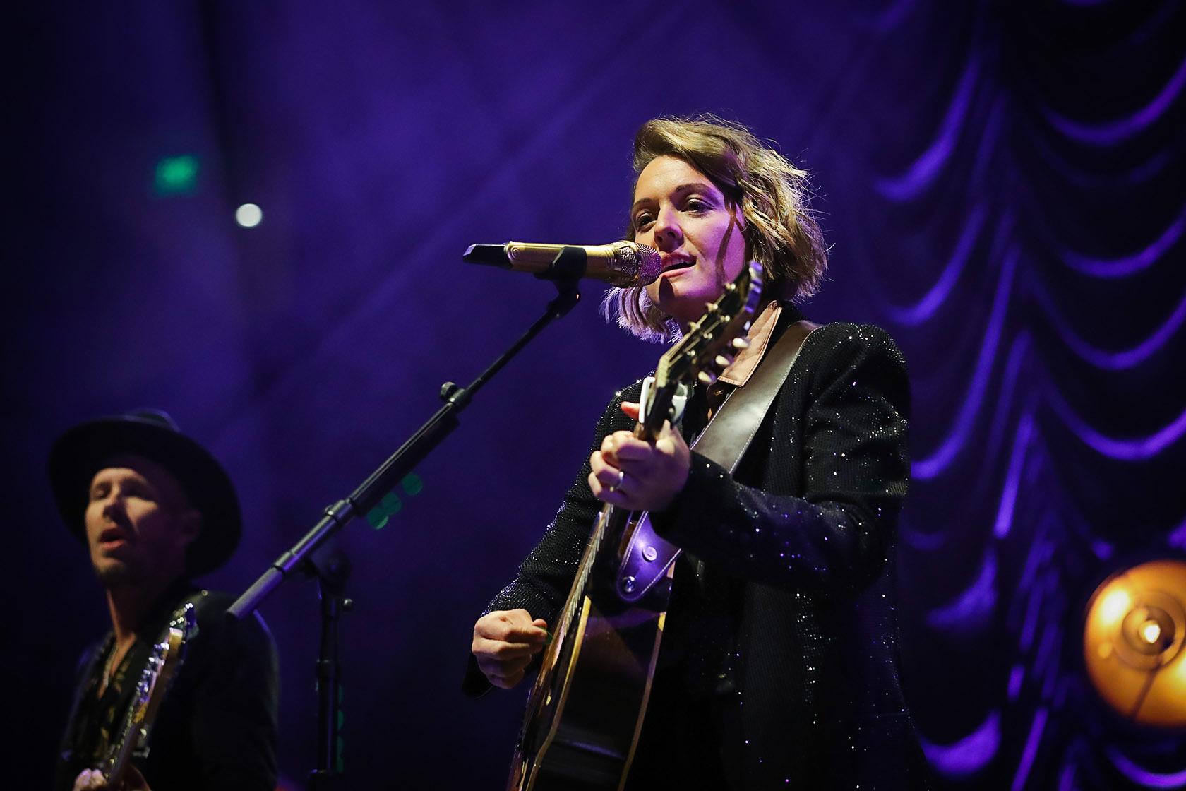 Brandi Carlile performs at the Vivint Arena on Feb. 8, 2020.