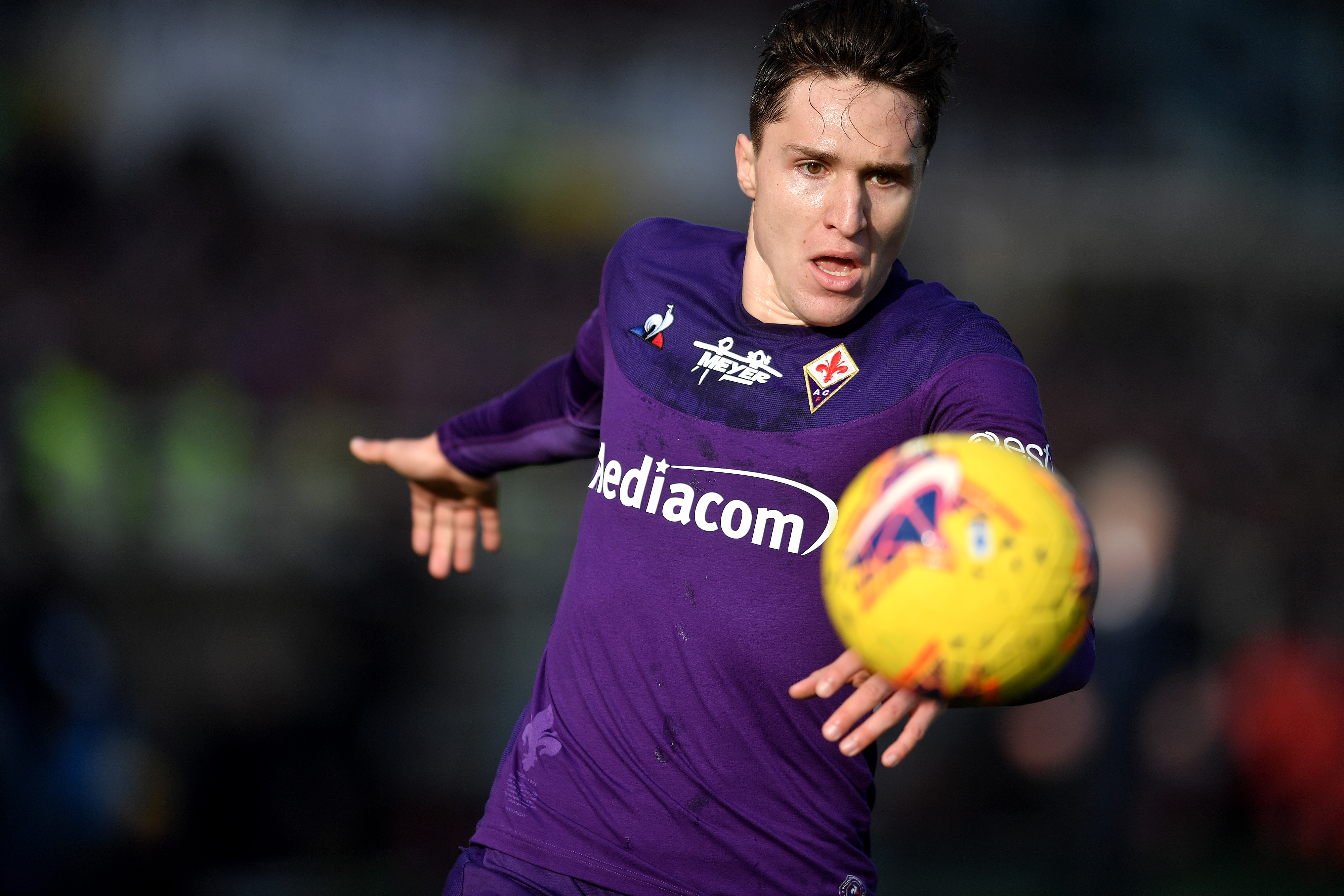 Federico Chiesa of Fiorentina in action during the football...