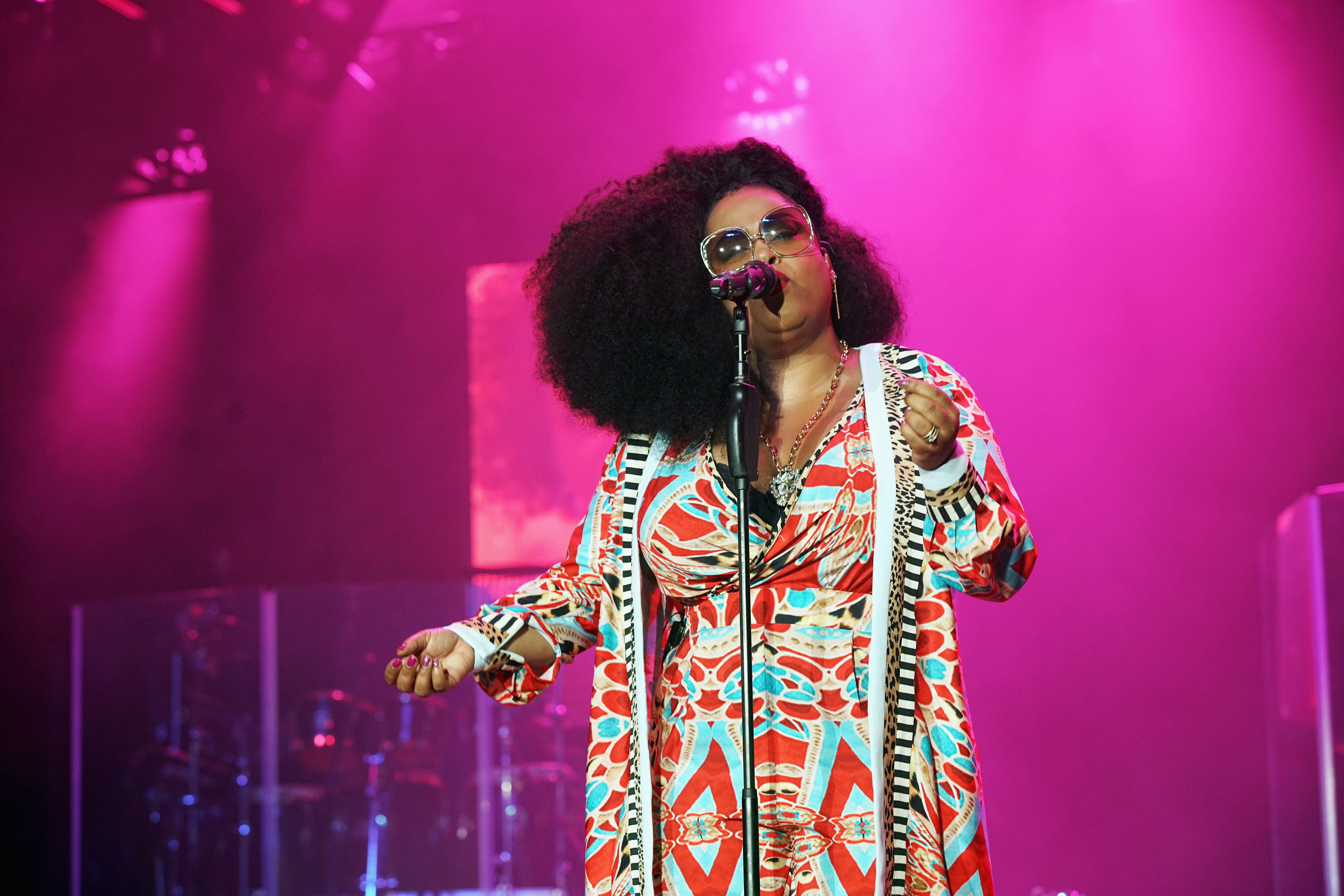 Jill Scott performs onstage at the 2017 ESSENCE Festival in New Orleans.