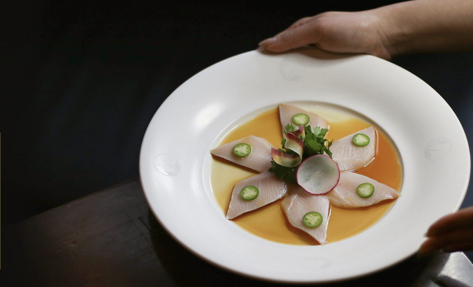 Yellowtail sashimi with jalapeño at Nobu