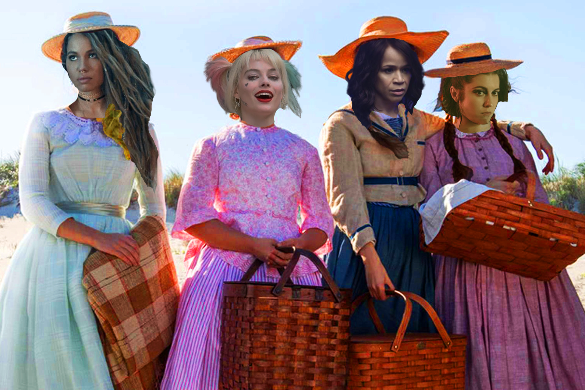 each of the main cast of birds of prey's heads photoshopped on the four little women characters
