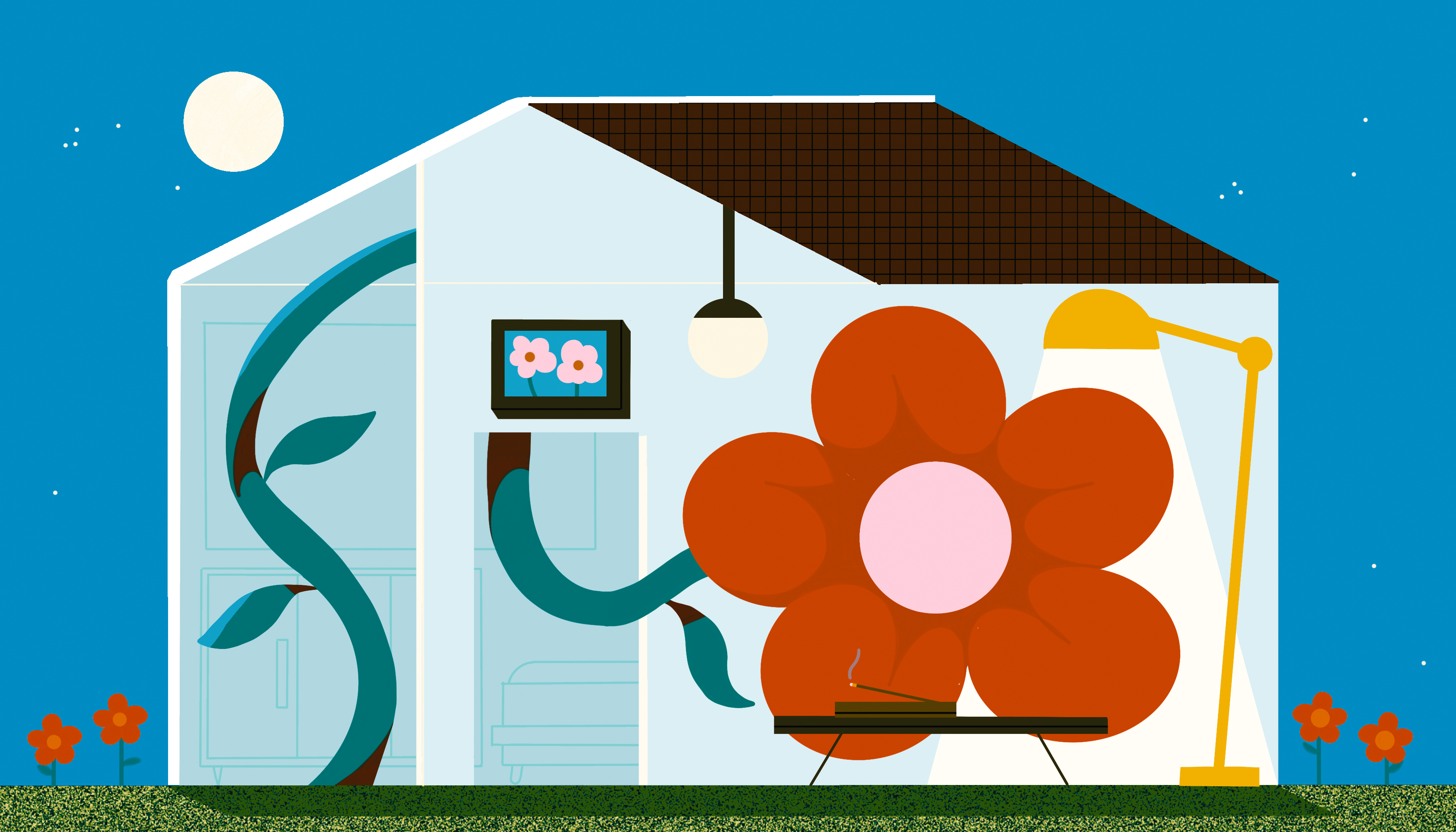 A single blooming flower extends its stem throughout a house to find light. Outside the sun has set and a full moon shines on the home. Illustration.