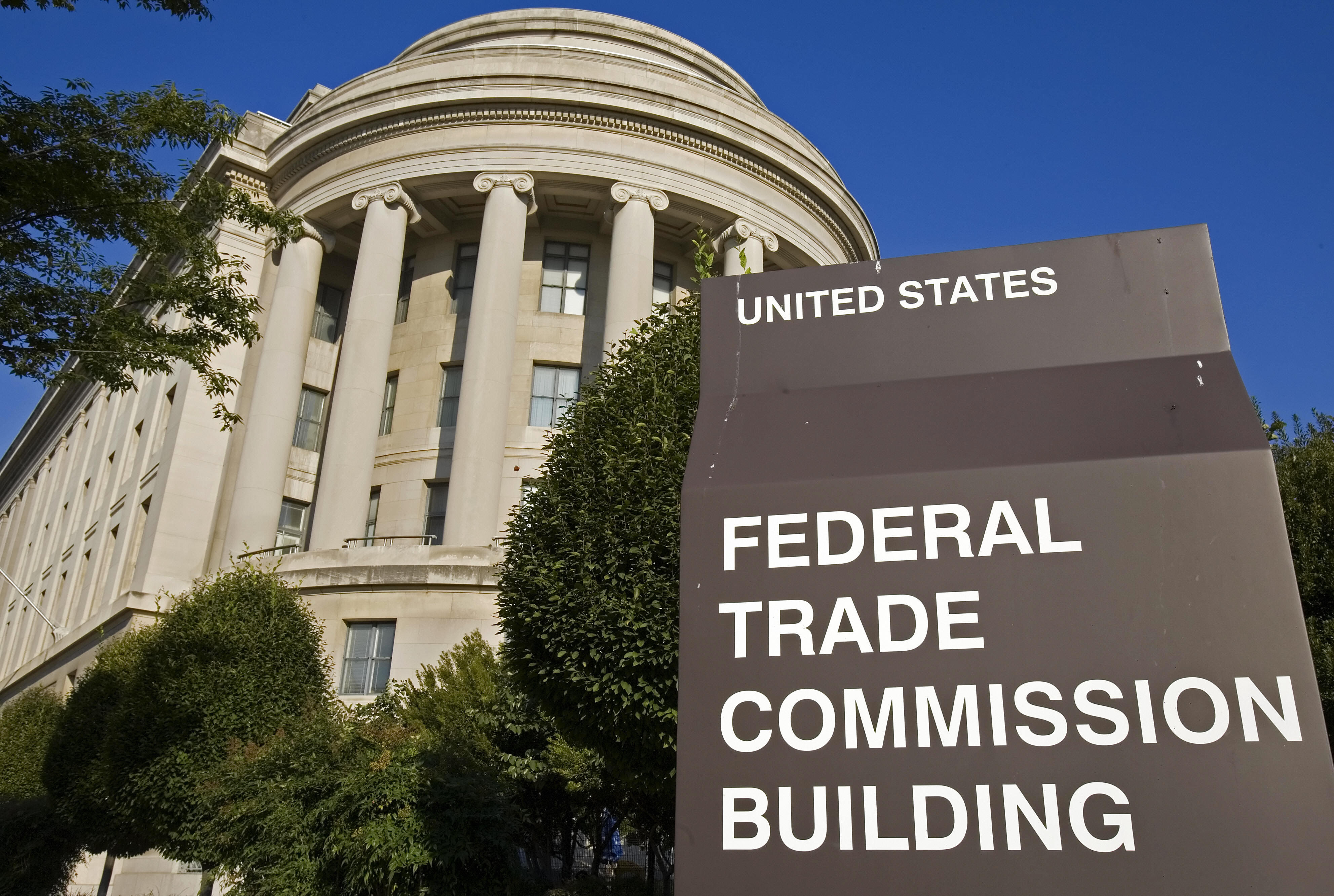 A sign marks the Federal Trade Commission building in Washington, DC.