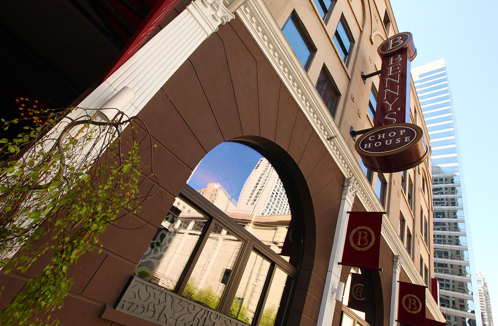 The exterior of a River North steakhouse