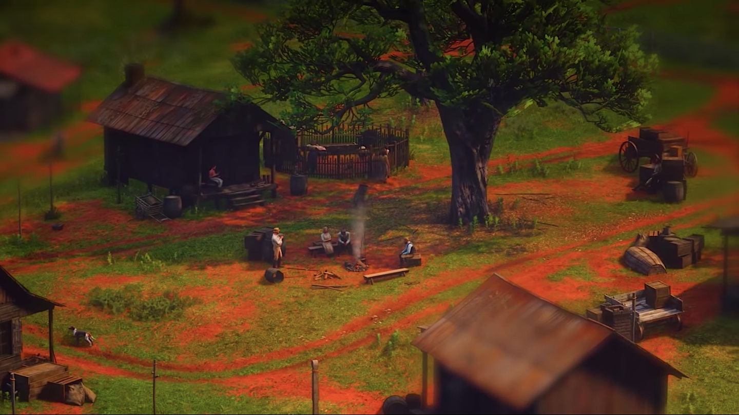A tilt-shifted view of a Red Dead Redemption 2 settlement