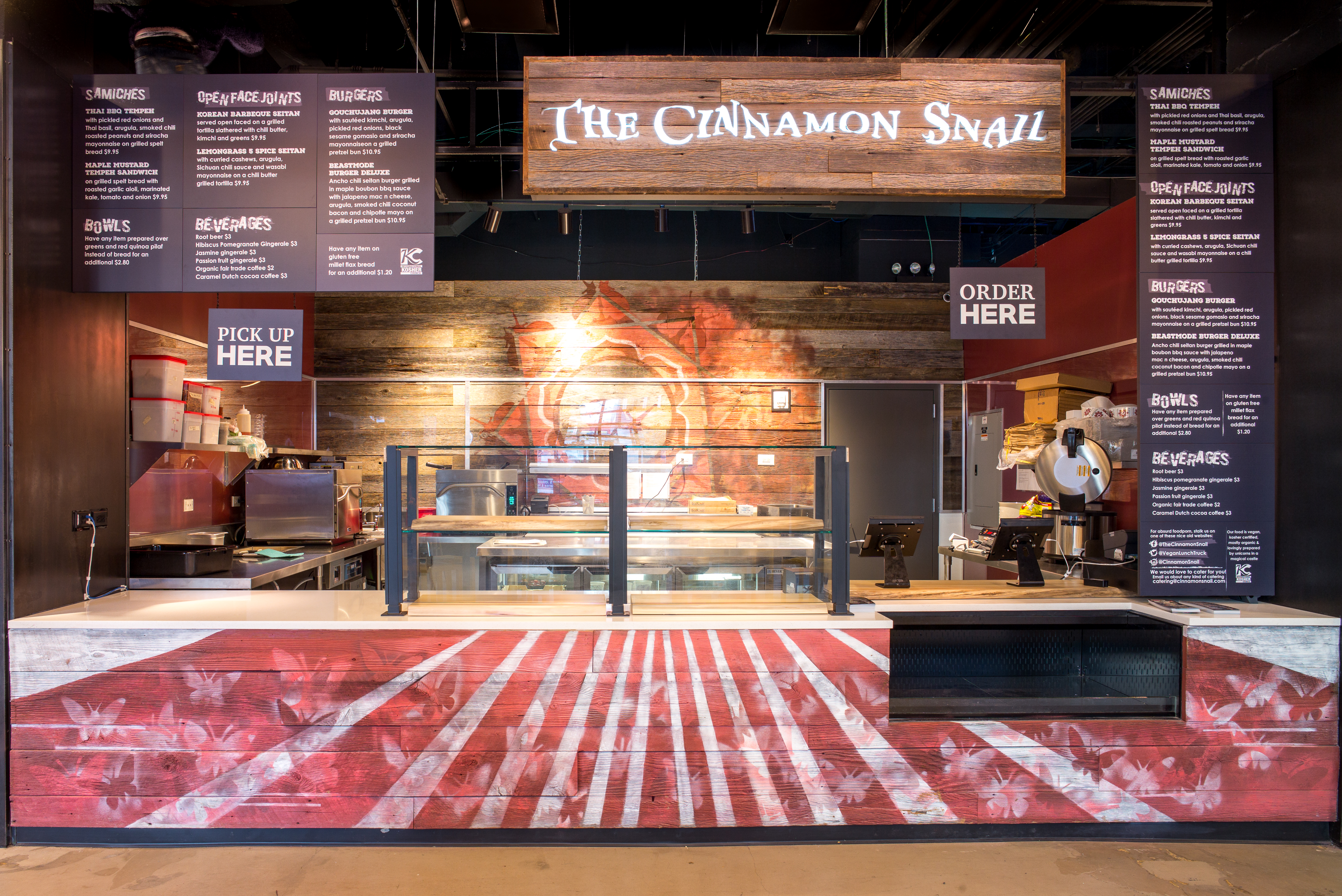 A front view of the counter at food vendor The Cinnamon Snail, inside Pennsy Food Hall