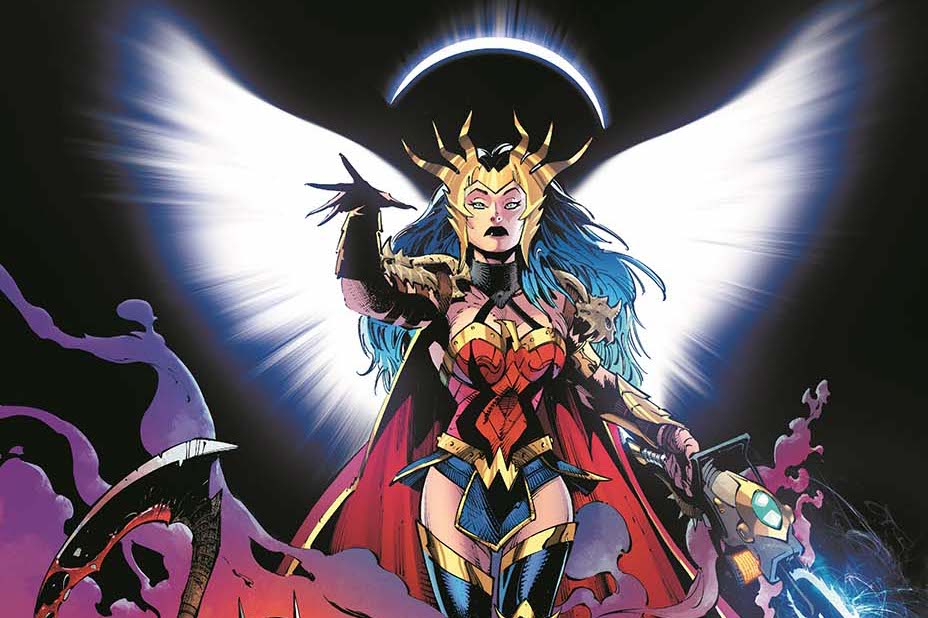 A crown-wearing Wonder Woman splays white, spectral wings and a crescent halo in promotional art for Death Metal, DC Comics.